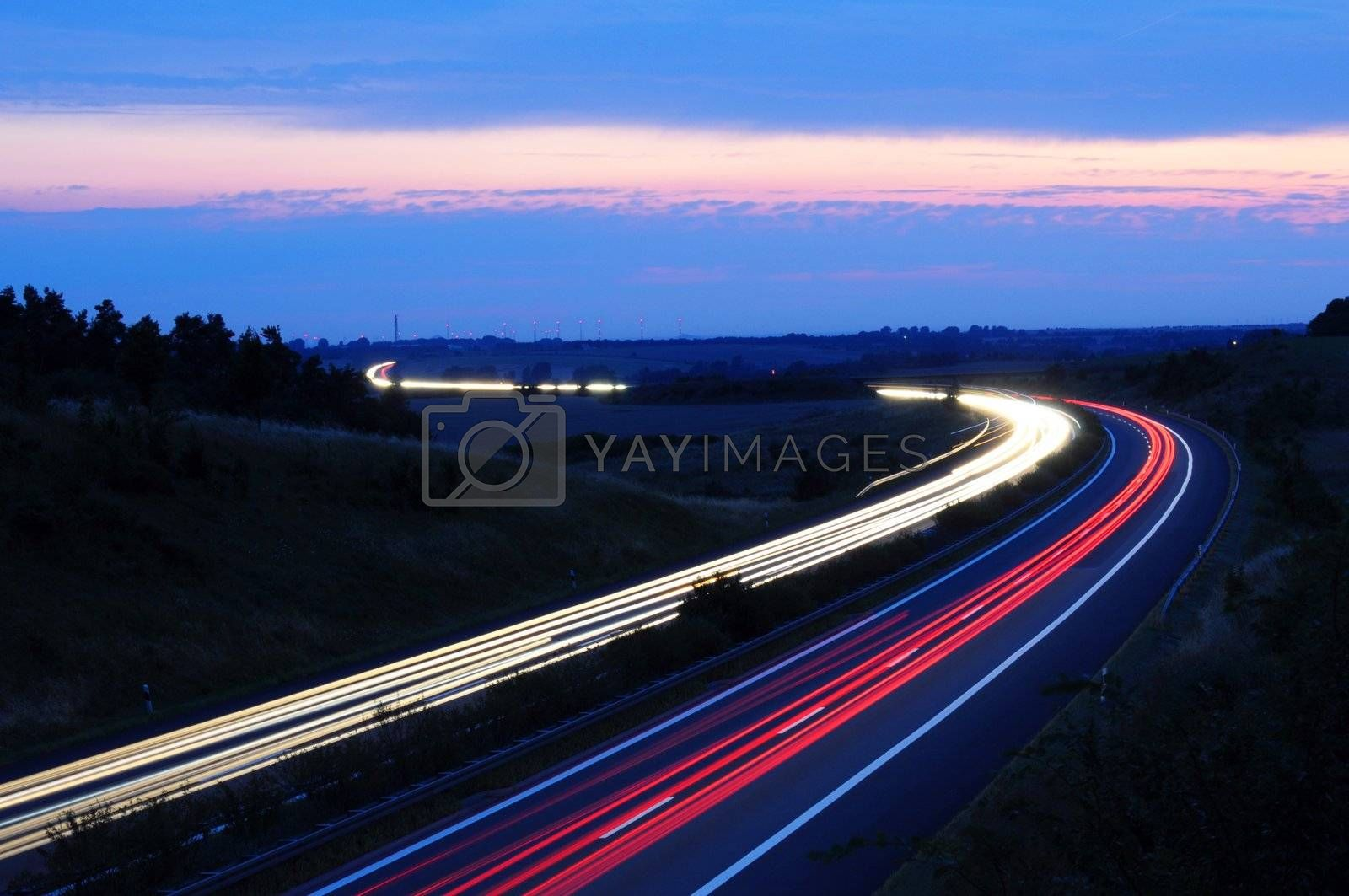 night traffic motion blur on highway showing car or transportation concept