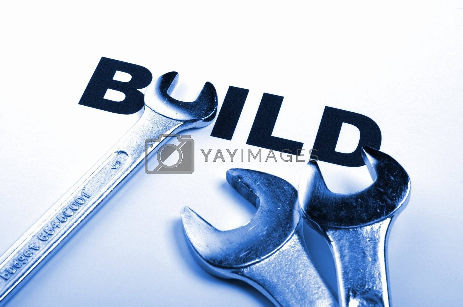 build and  tools showing construction concept with word