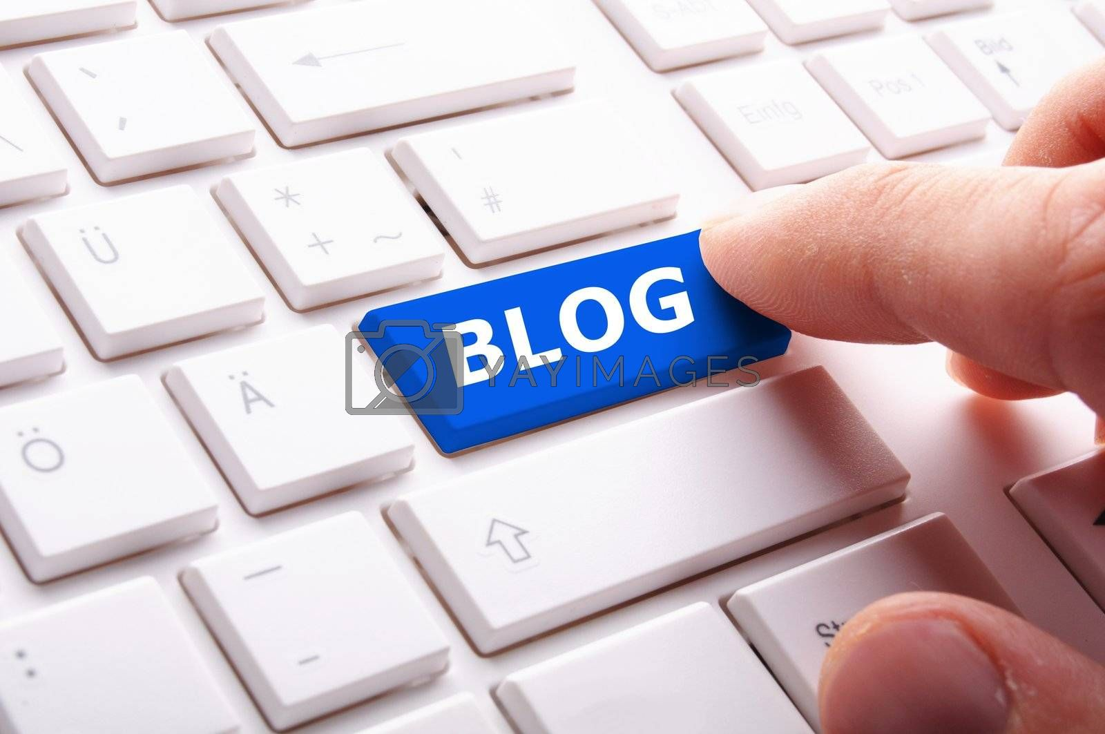 blog key on keyboard showing internet communication concept