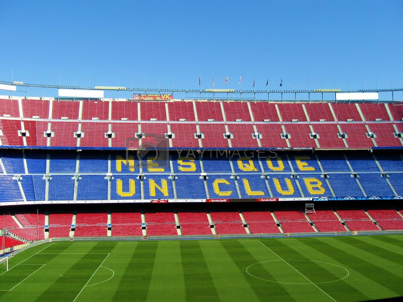 Seats at the soccer stadium in Barcelona