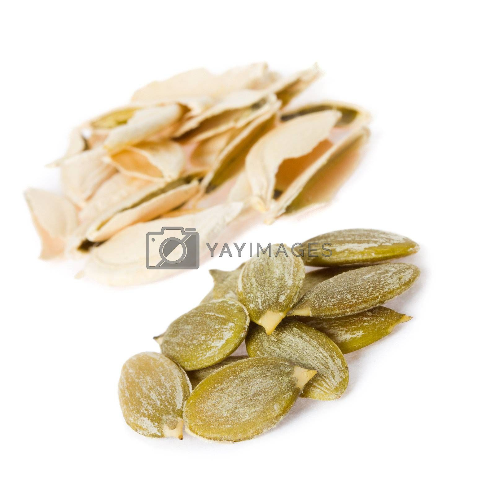 close-up seeds of pumpkin, isolated on white