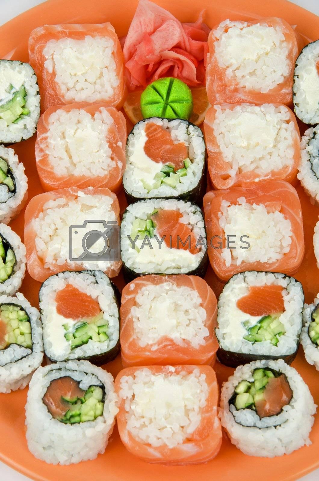 Top view of closeup japanese sushi set