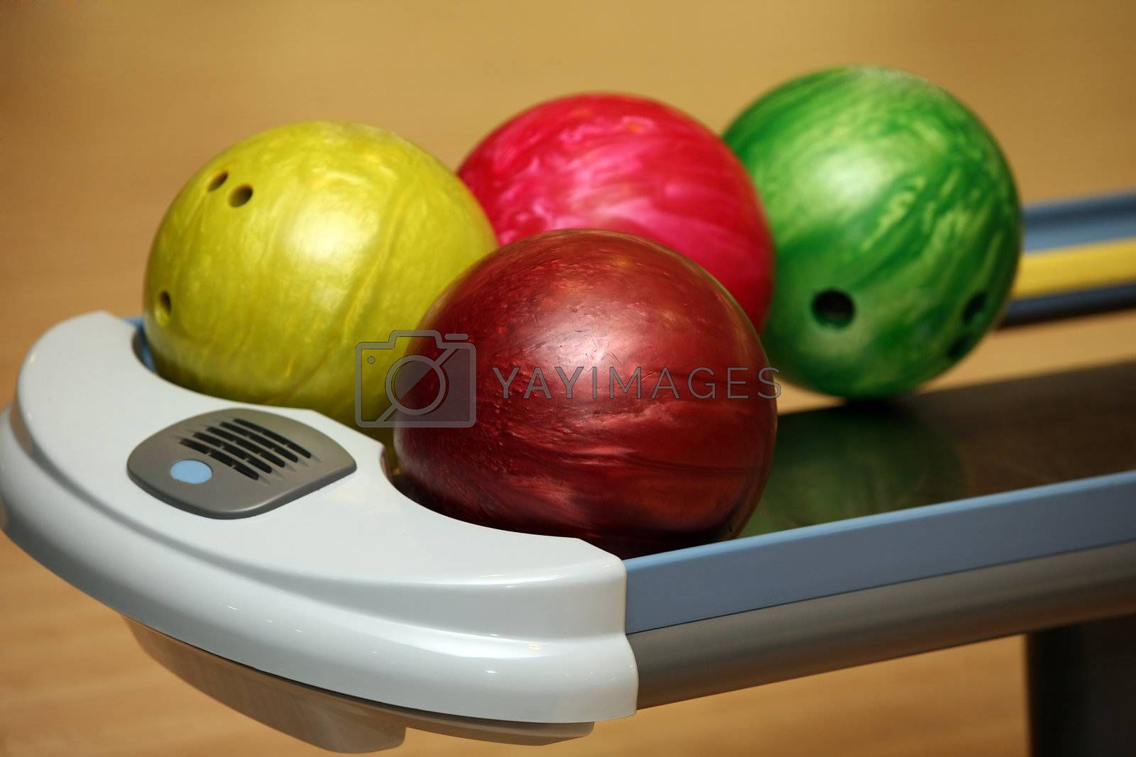 Four color bowling balls of different color