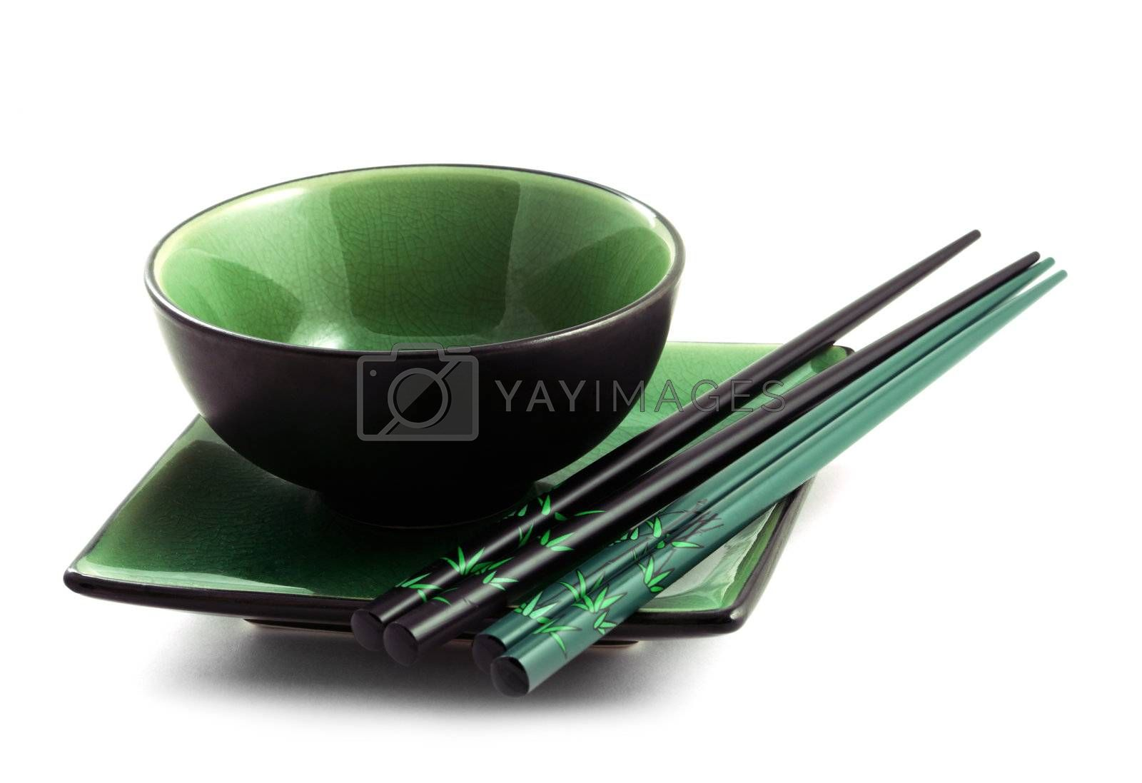 The Japanese utensils for a sushi on a white background