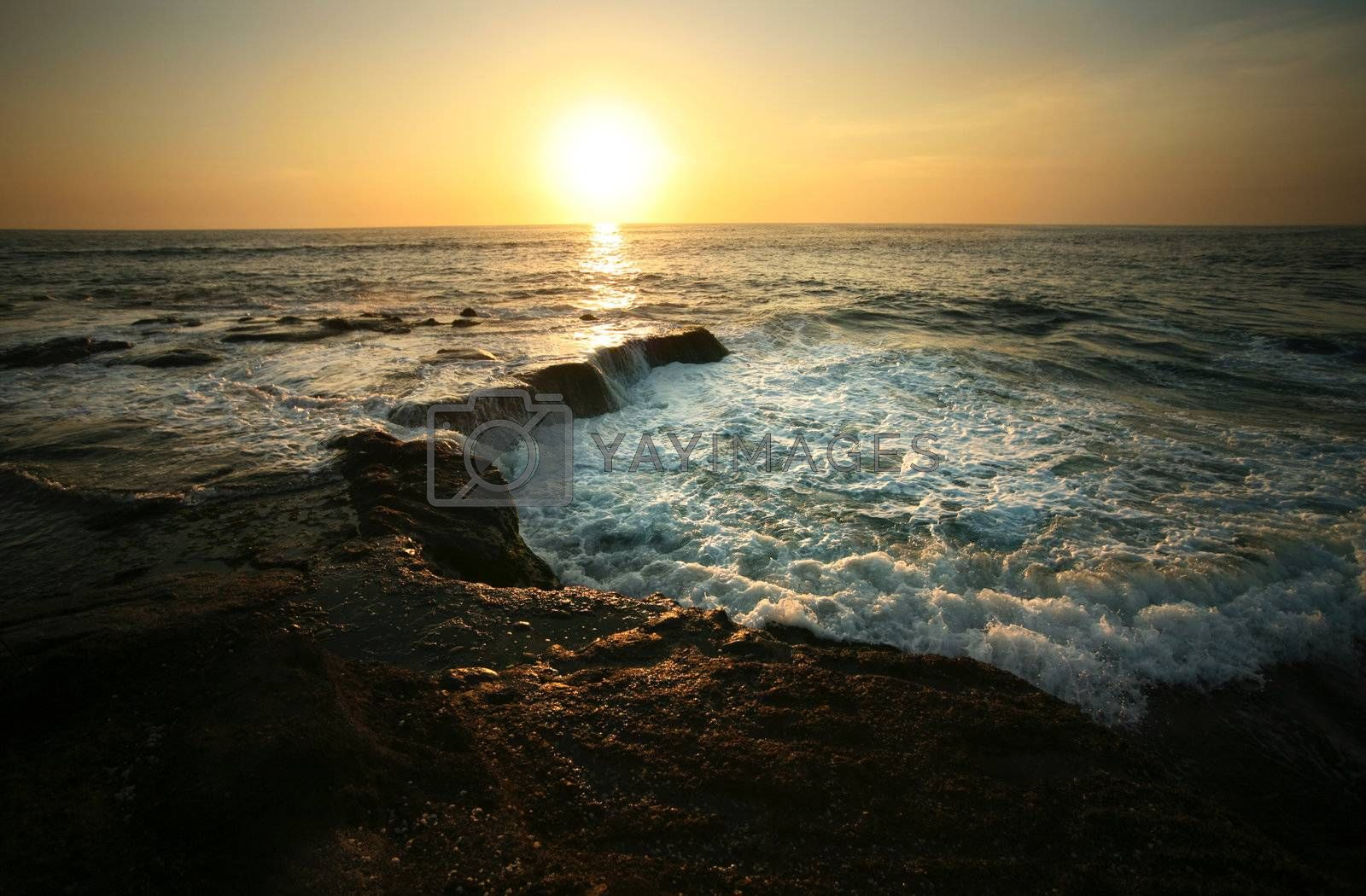 Coastline Indian ocean on sunset