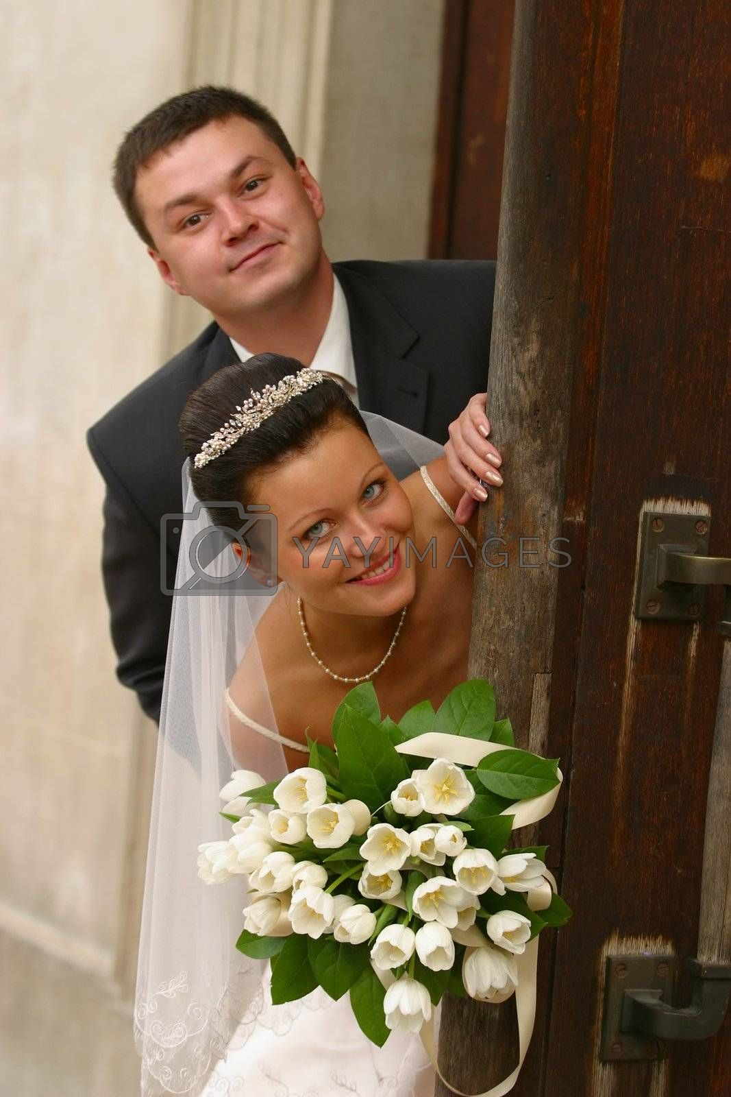 Beautiful newly married pair on a background of a wooden door