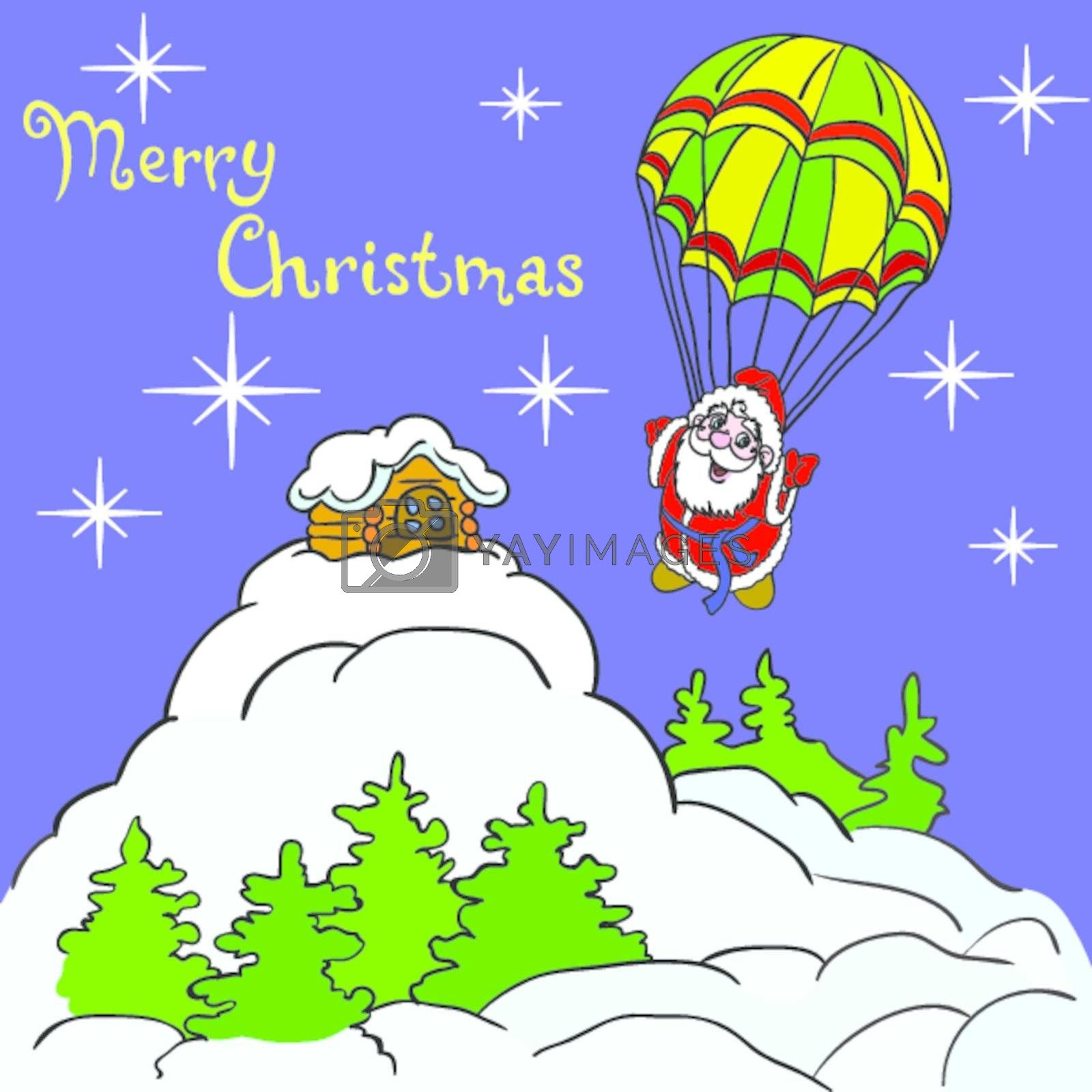 Cheerful Santa Claus goes down from the sky on a parachute. Christmas illustration.