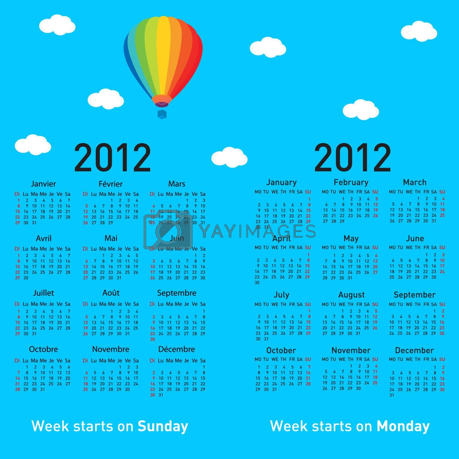 Stylish French calendar with balloon and clouds for 2012. In French and English.