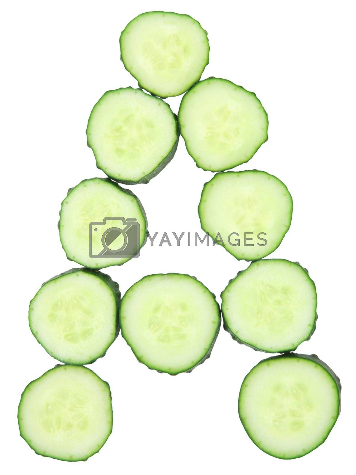 Vegetable Alphabet of chopped cucumber  - letter A
