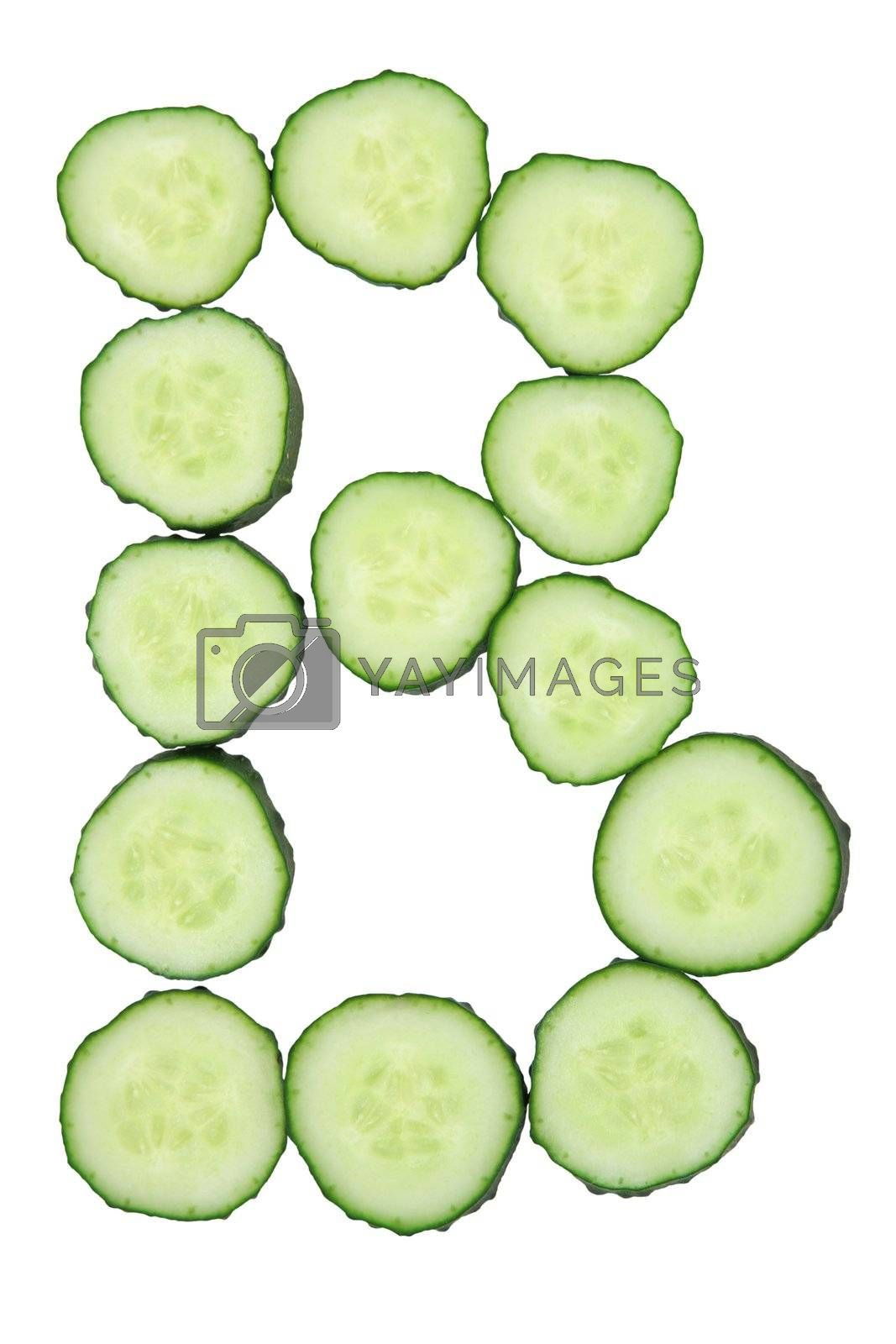 Vegetable Alphabet of chopped cucumber  - letter B