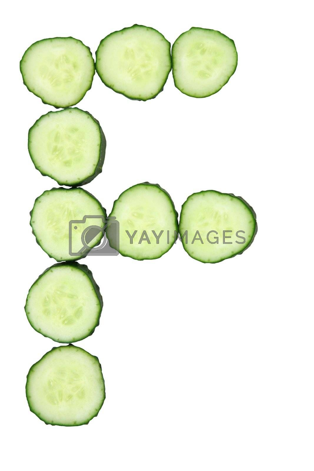 Vegetable Alphabet of chopped cucumber  - letter F