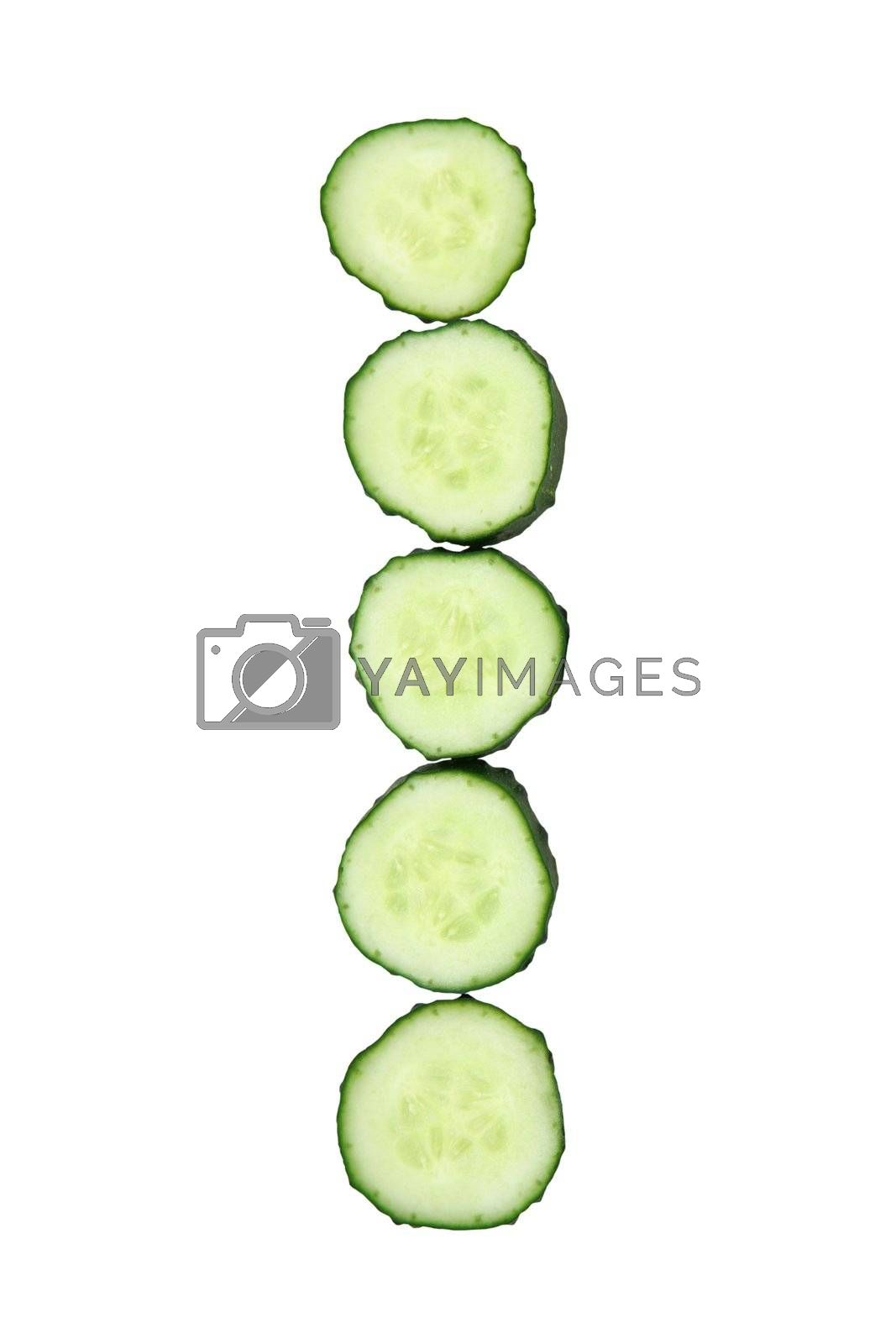 Vegetable Alphabet of chopped cucumber  - letter I
