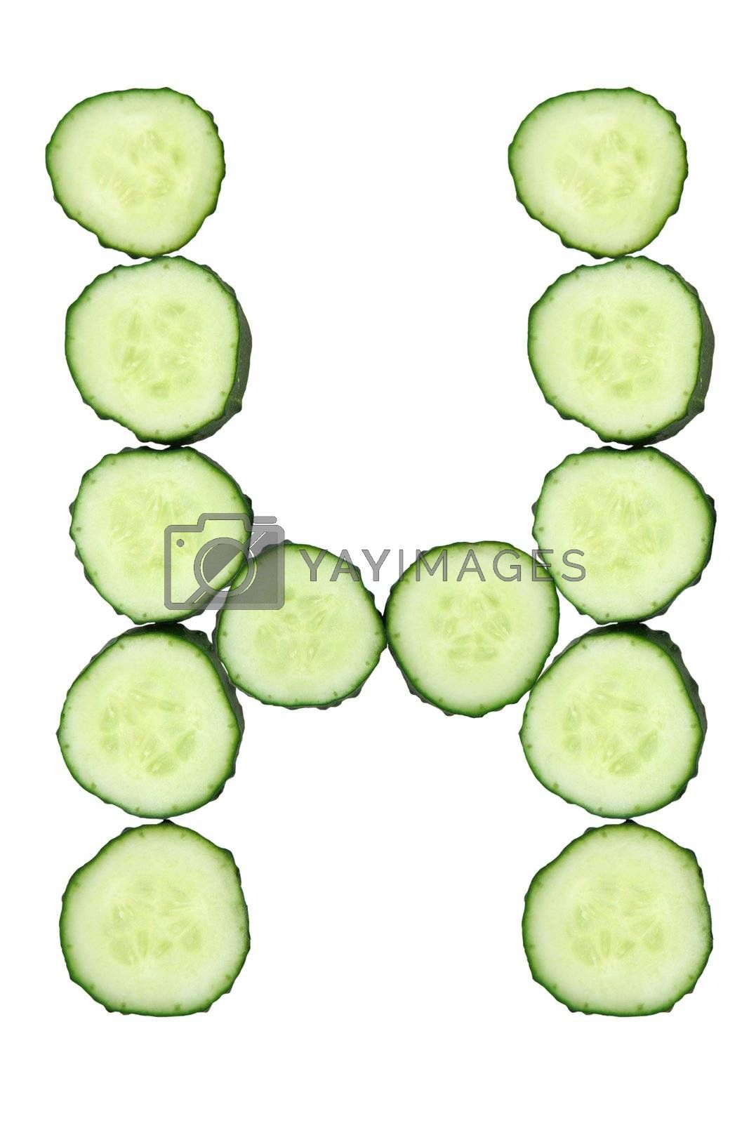 Vegetable Alphabet of chopped cucumber  - letter H