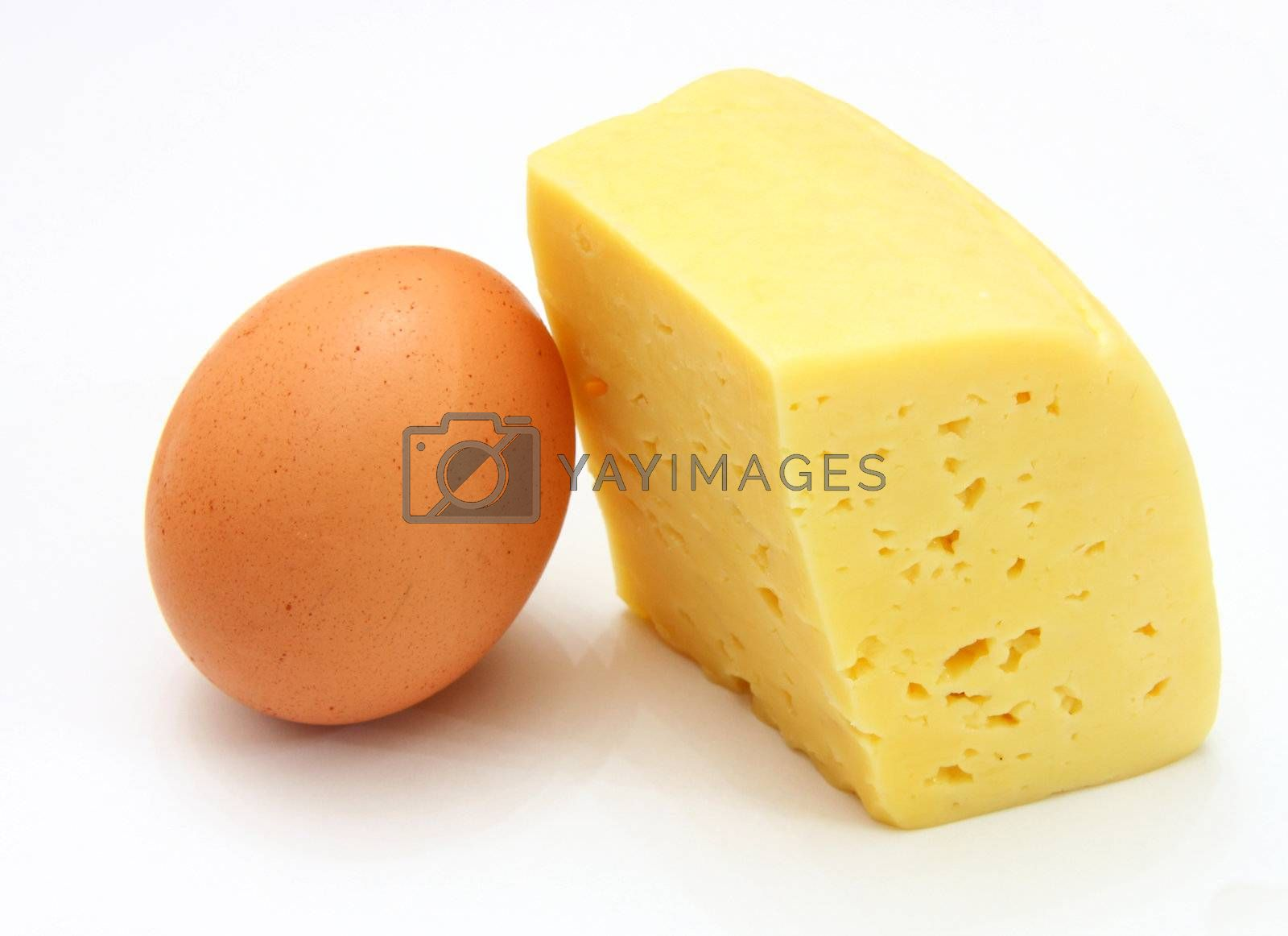 cheese and eggs, isolated on white.