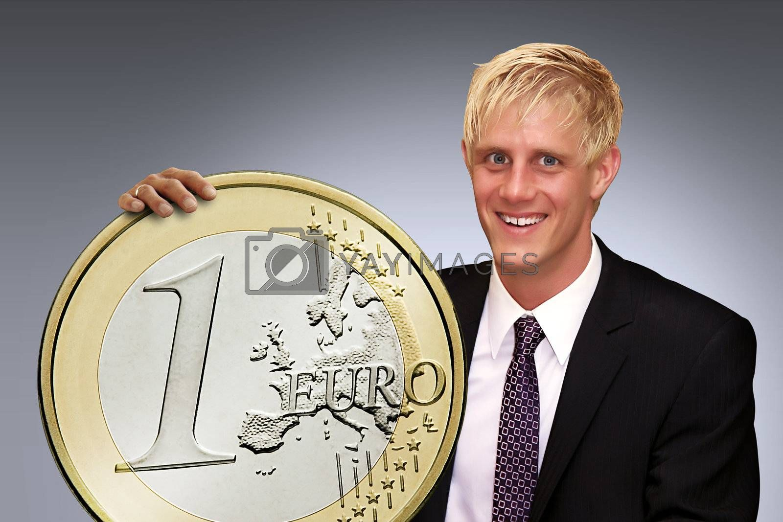 Rich man is holding his euro coin