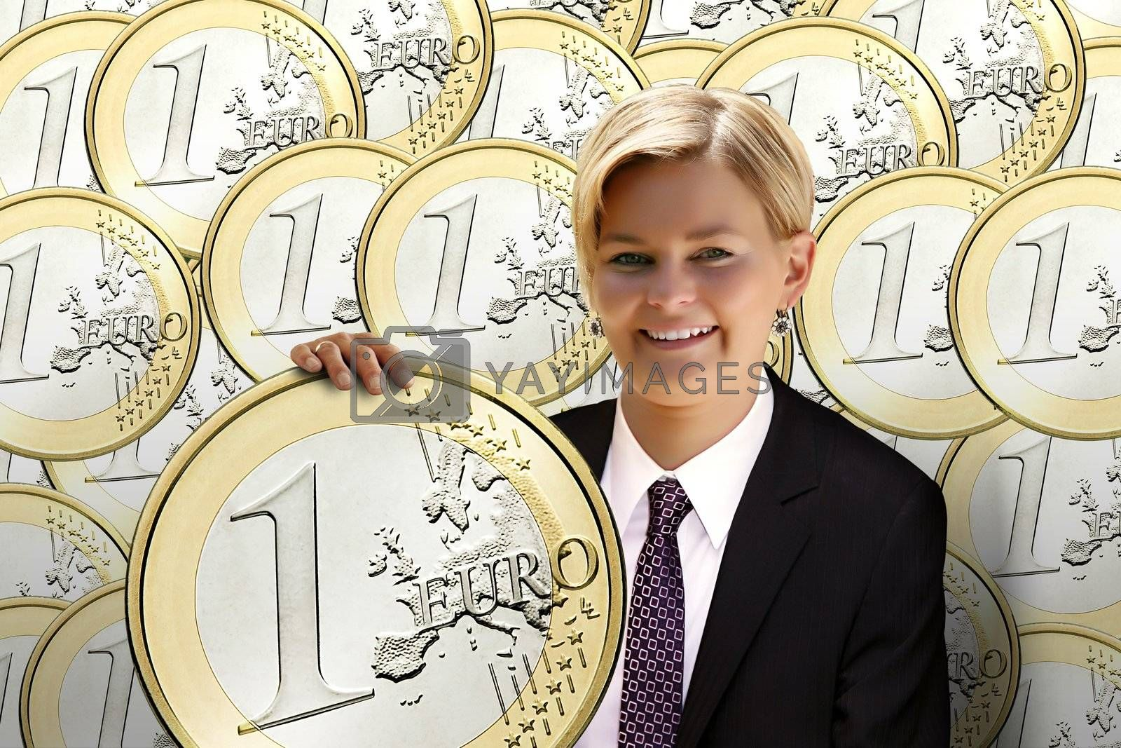 young woman is holding the euro coin