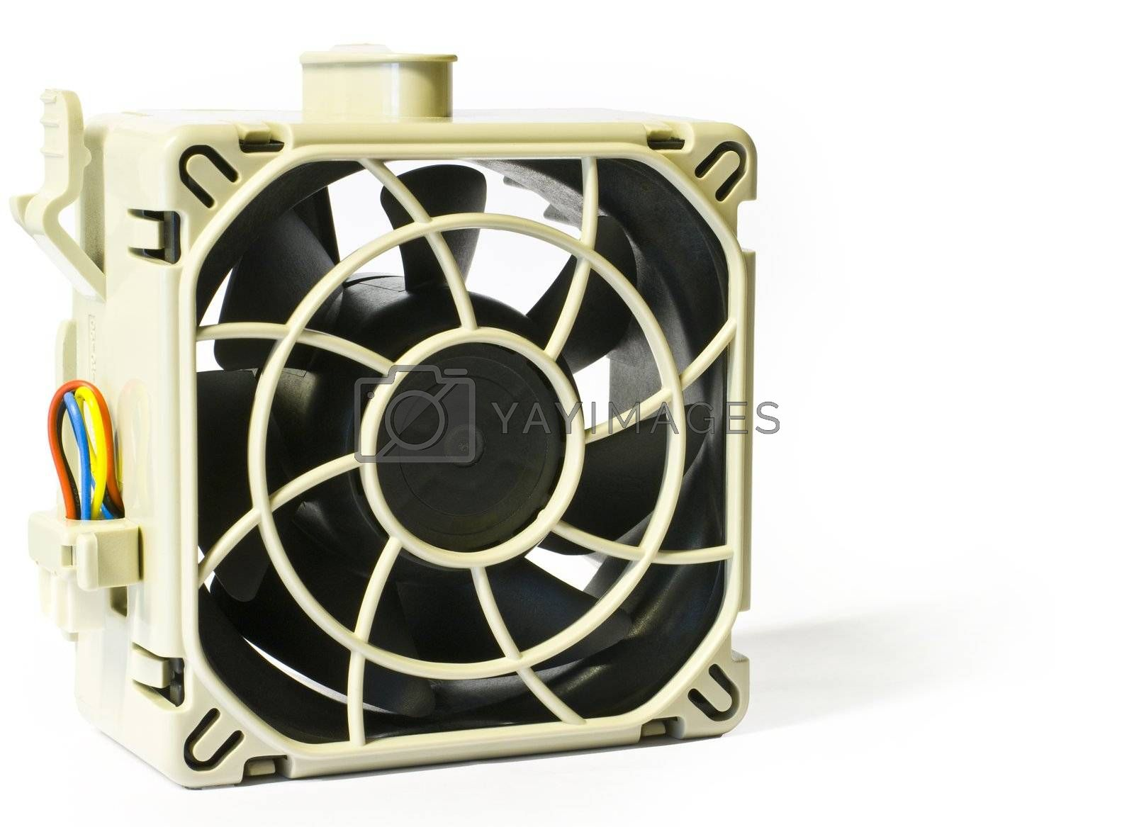 Hot swap server fan in close up isolated on white.