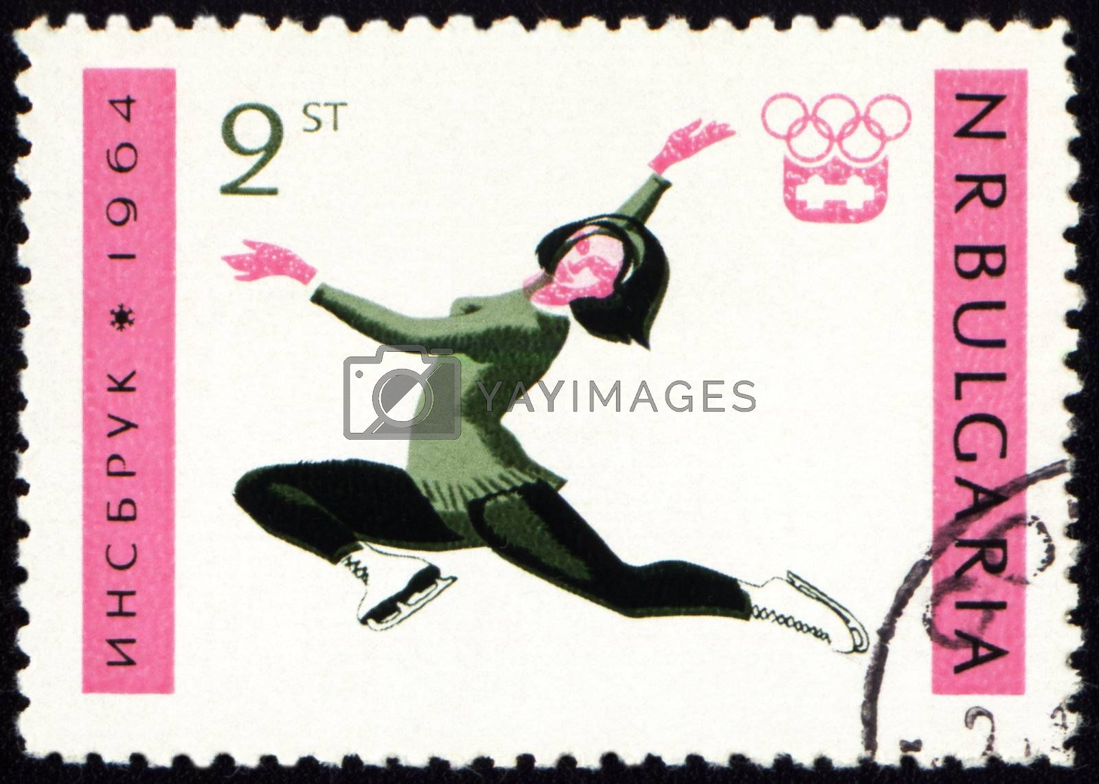BULGARIA - CIRCA 1964: A post stamp printed in Bulgaria shows figure skating, dedicated to the Olympic Winter Games in Innsbruck, series, circa 1964