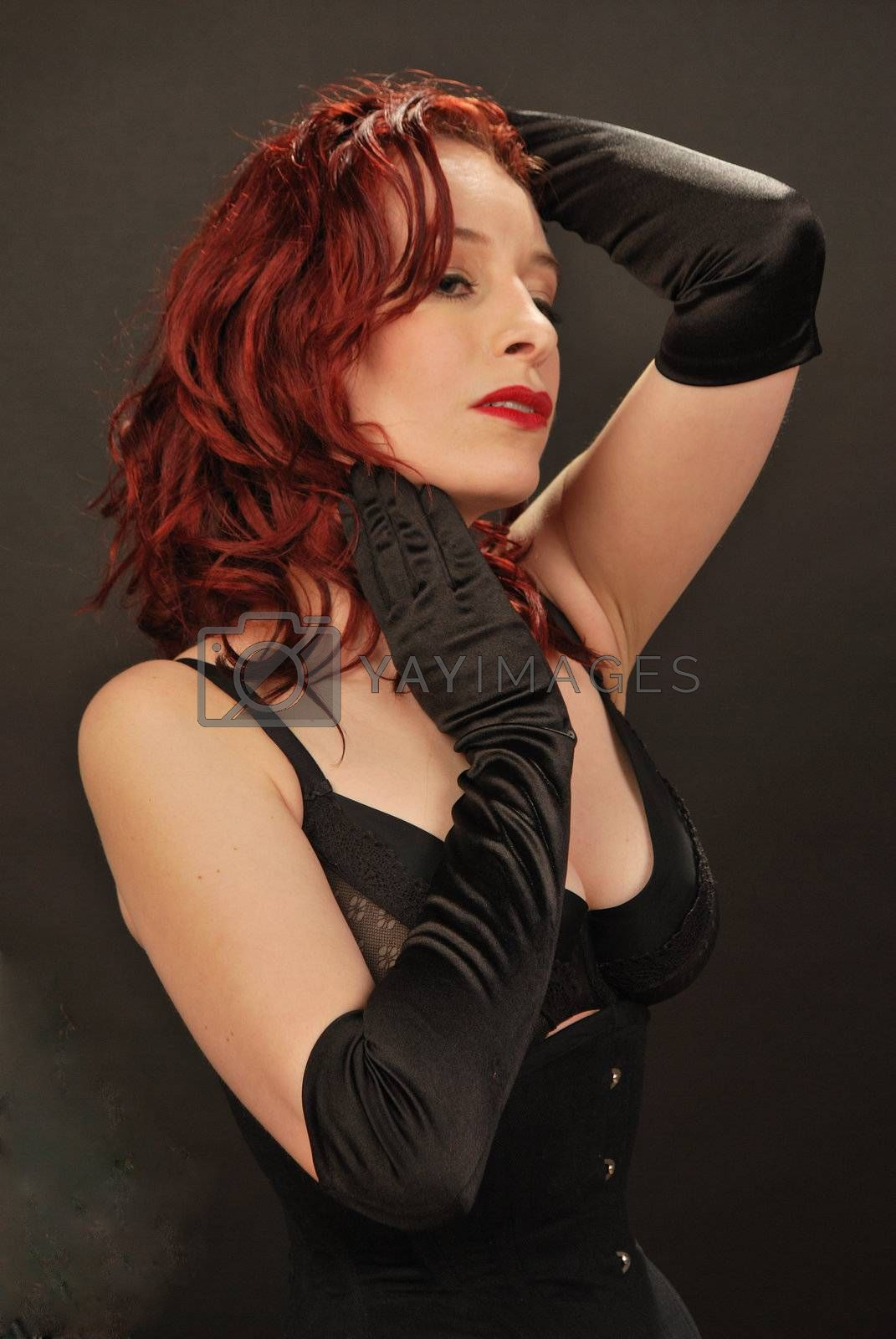 sexy redhead with black gloves