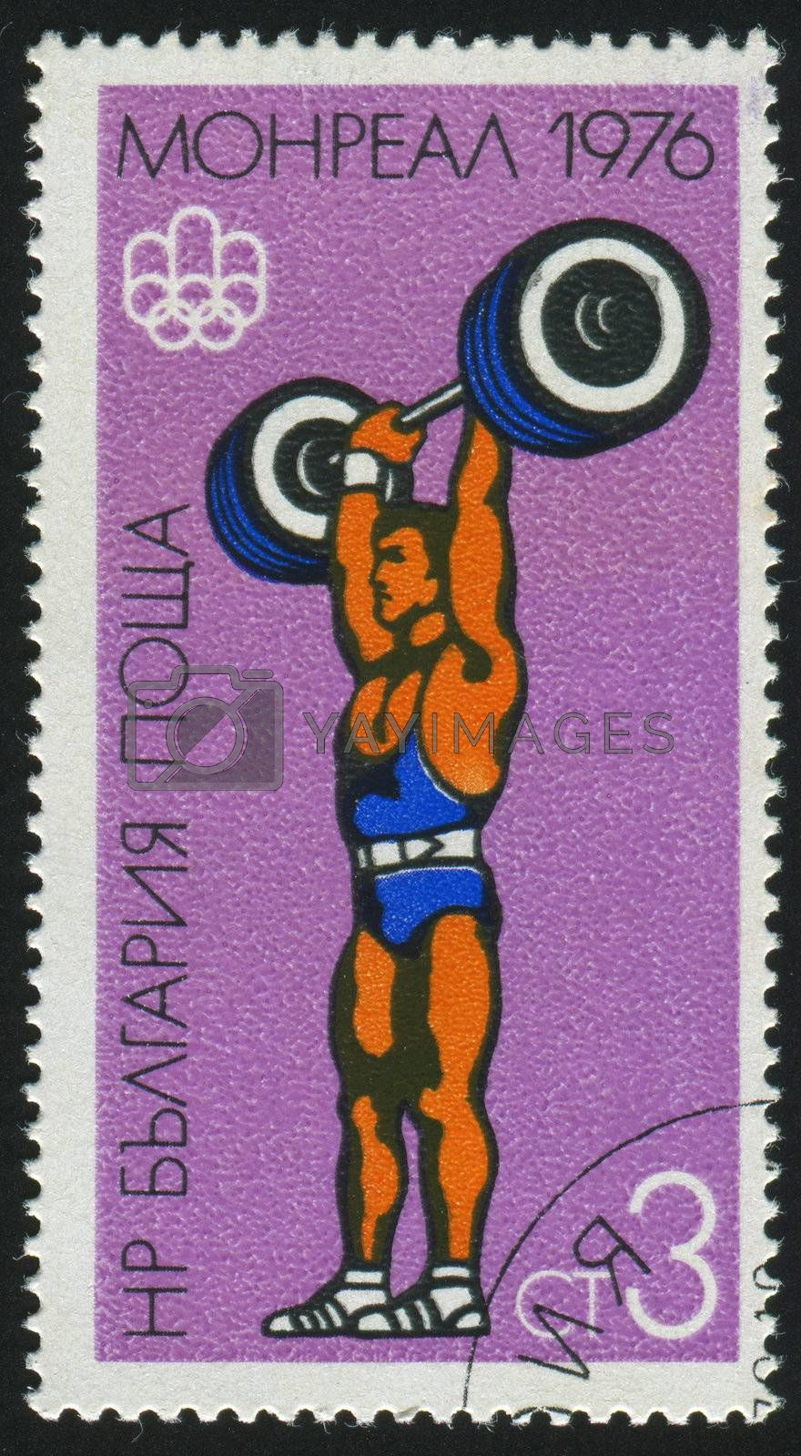 BULGARIA - CIRCA 1976: stamp printed by Bulgaria, shows weight lifting, circa 1976.