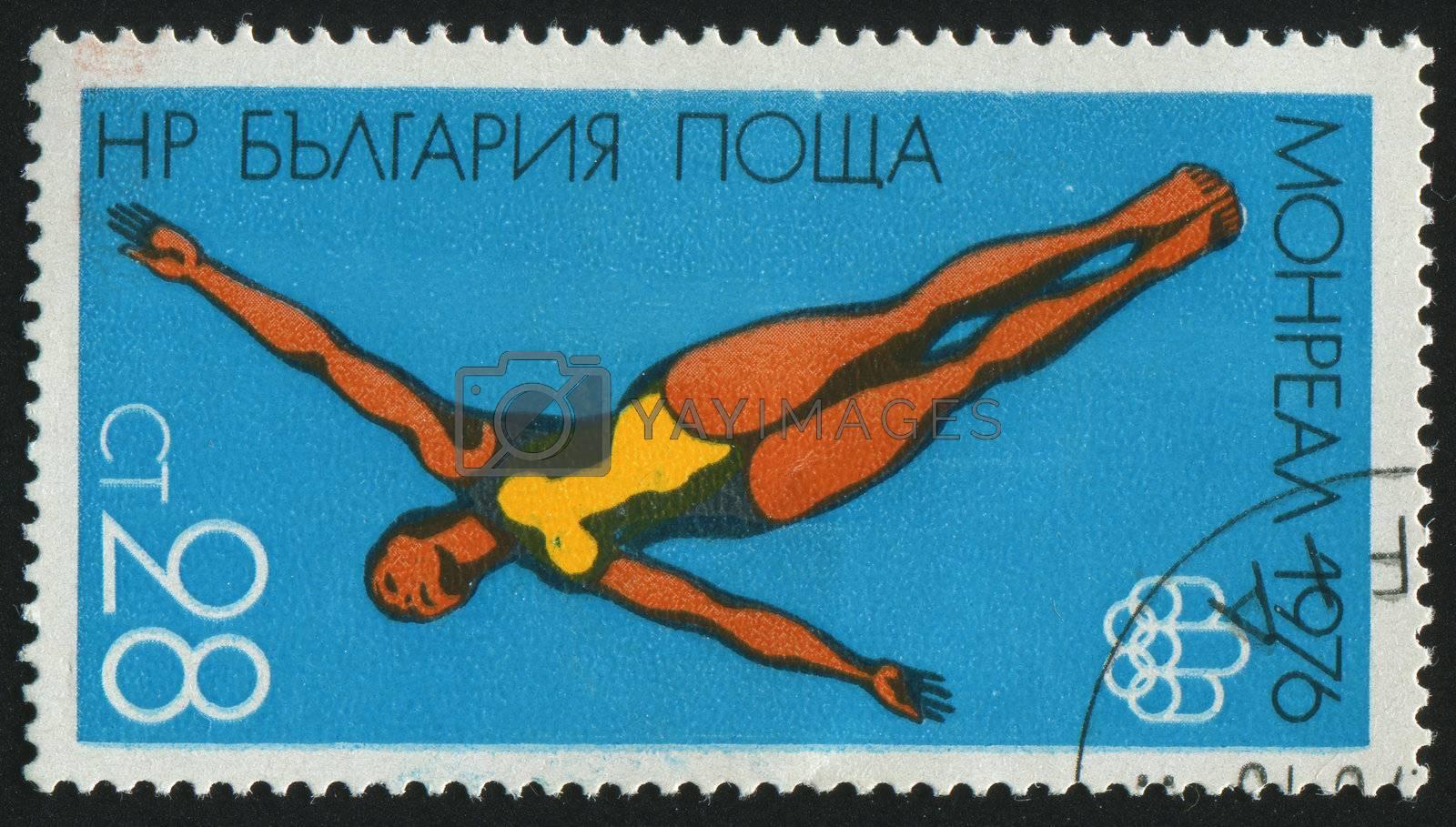 BULGARIA - CIRCA 1976: stamp printed by Bulgaria, shows woman diver, circa 1976.