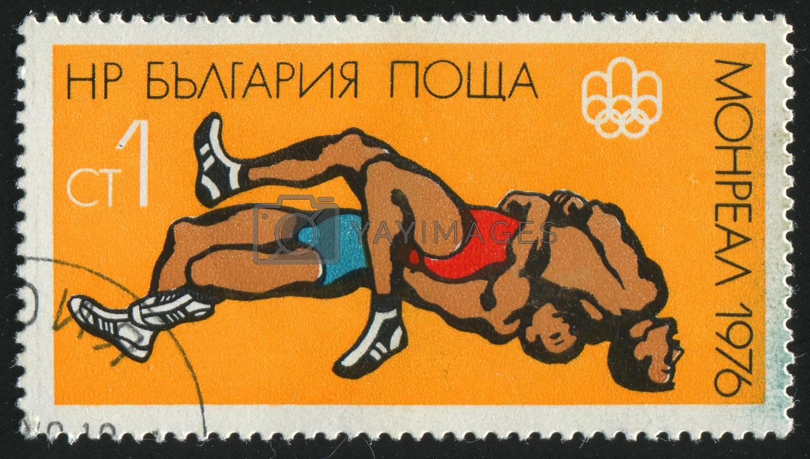 BULGARIA - CIRCA 1976: stamp printed by Bulgaria, shows wrestling, circa 1976.