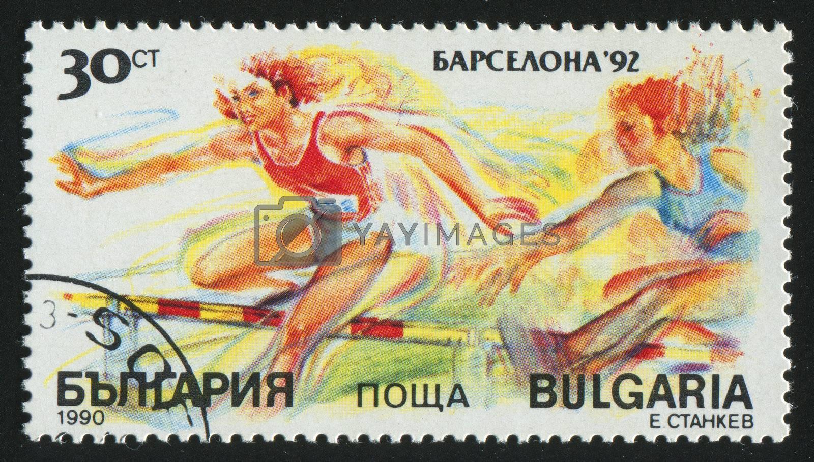 BULGARIA - CIRCA 1990: stamp printed by Bulgaria, shows woman runner, circa 1990.