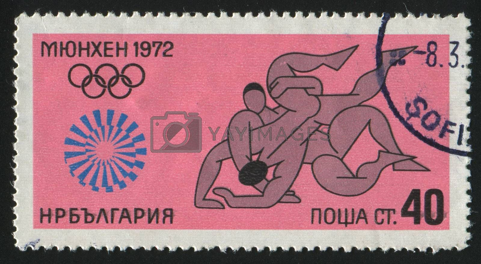 BULGARIA - CIRCA 1972: stamp printed by Bulgaria, shows wrestler, circa 1972.