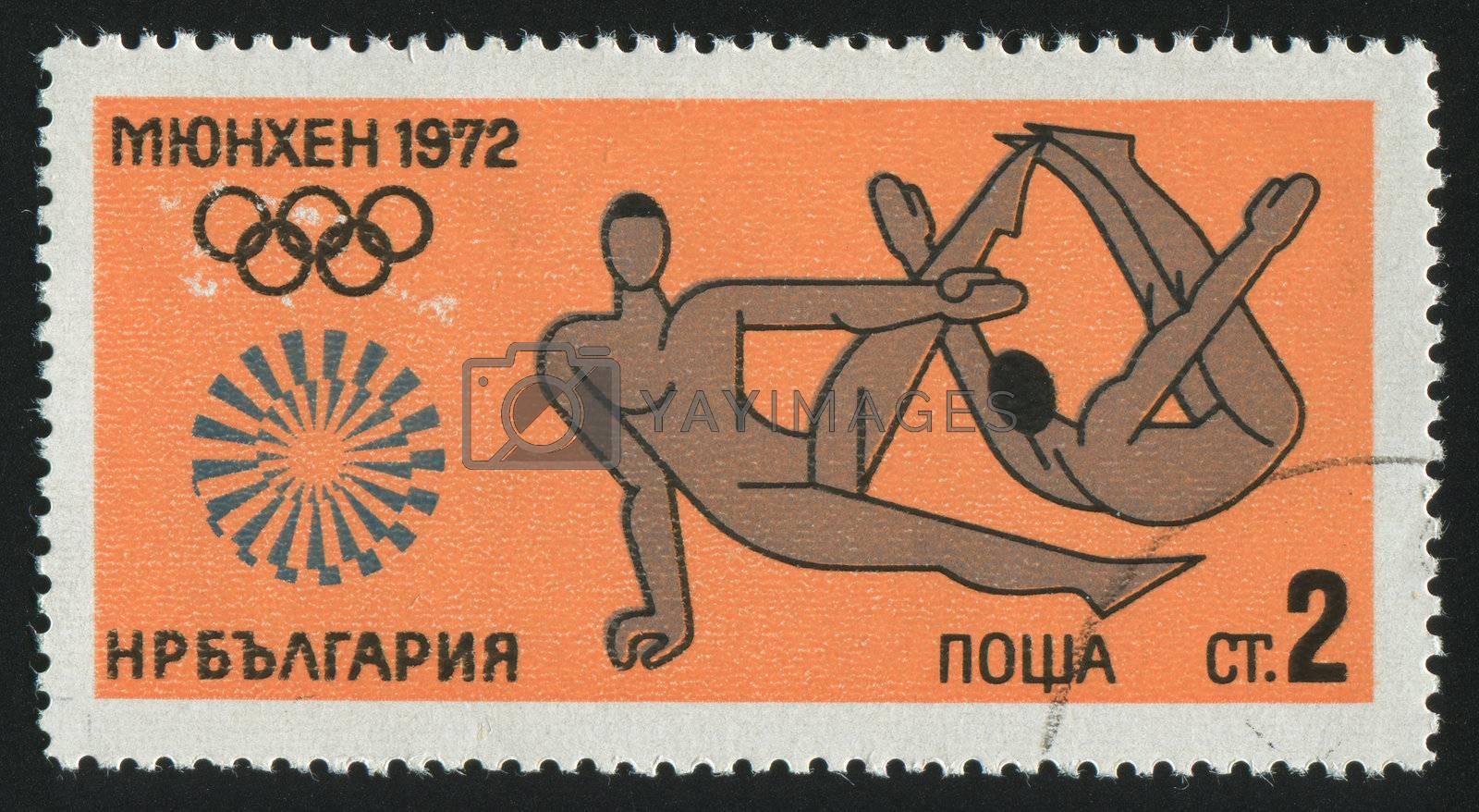 BULGARIA - CIRCA 1972: stamp printed by Bulgaria, shows gymnastics, circa 1972.
