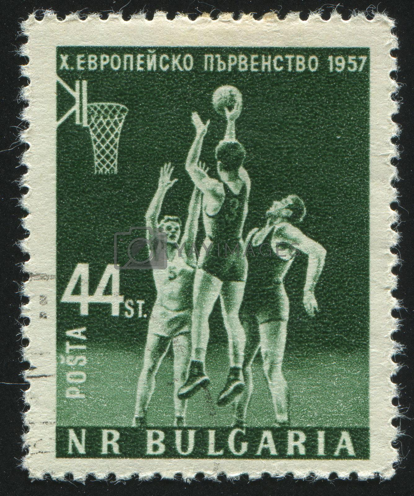 BULGARIA - CIRCA 1957: stamp printed by Bulgaria, shows basketball, circa 1957.