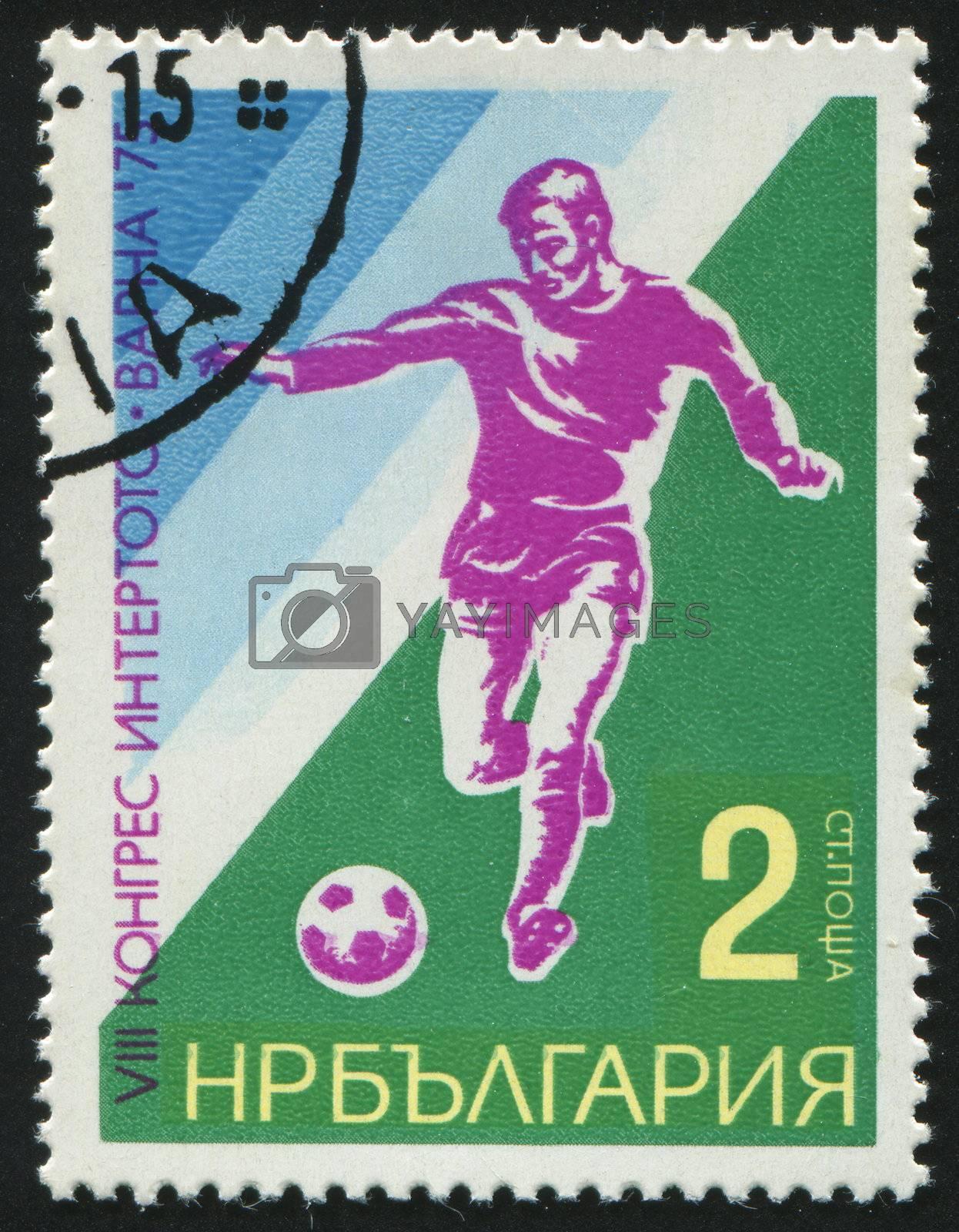 BULGARIA - CIRCA 1975: stamp printed by Bulgaria, shows football, circa 1975.