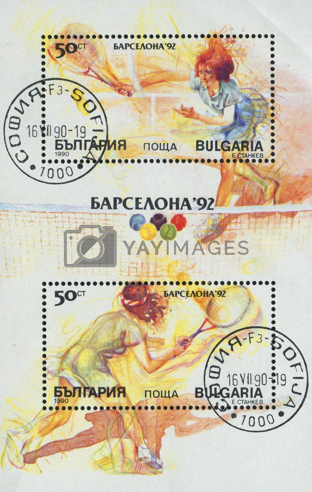 BULGARIA - CIRCA 1990: stamp printed by Bulgaria, shows lawn tennis, circa 1990.