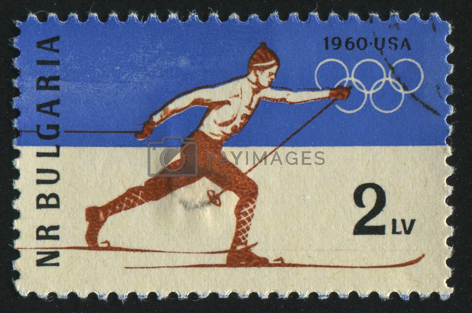 BULGARIA - CIRCA 1960: stamp printed by Bulgaria, shows cross-country skiing, circa 1960.
