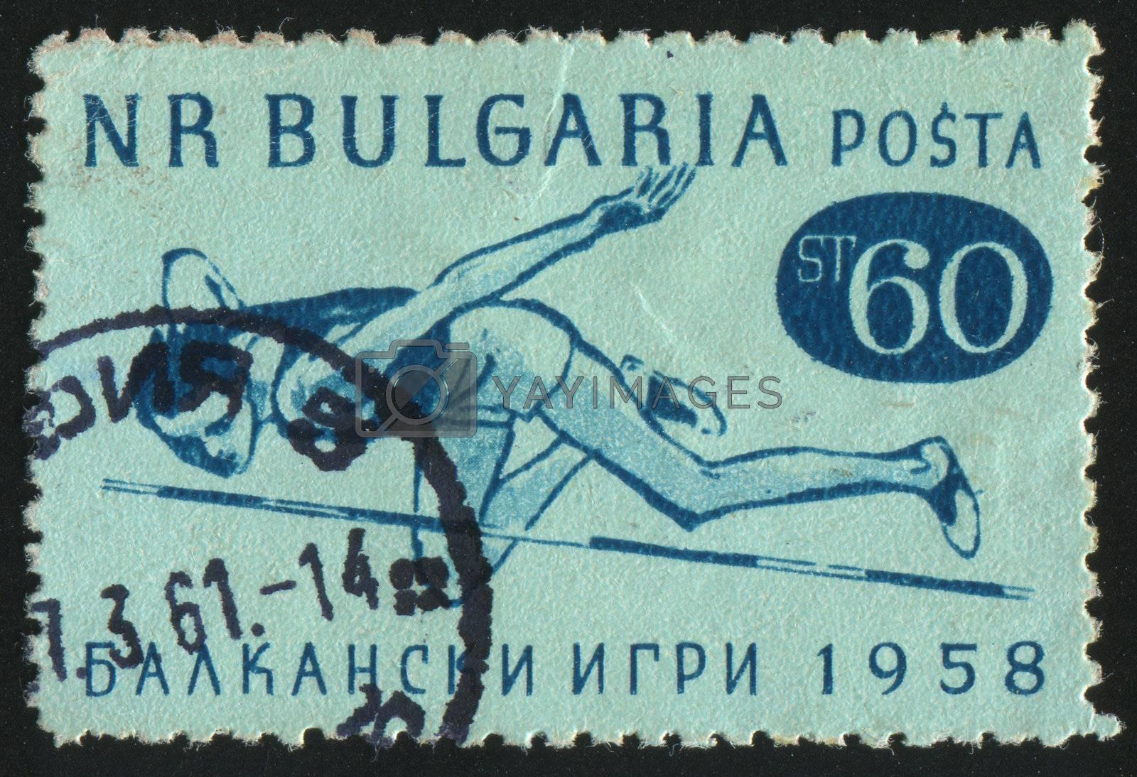 BULGARIA - CIRCA 1958: stamp printed by Bulgaria, shows high jump, circa 1958.