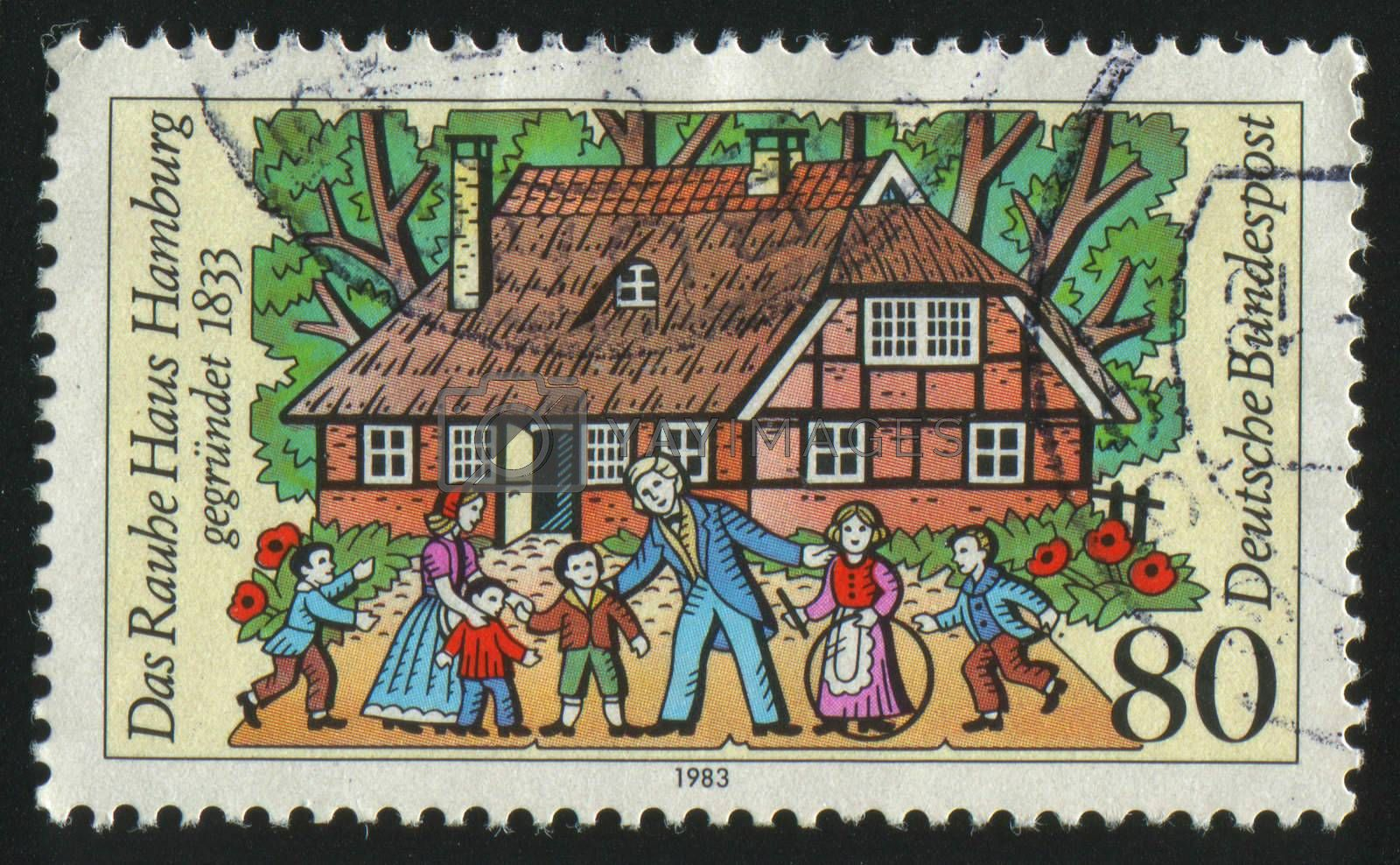 GERMANY  - CIRCA 1983: stamp printed by Germany, shows children and the teacher,  circa 1983.