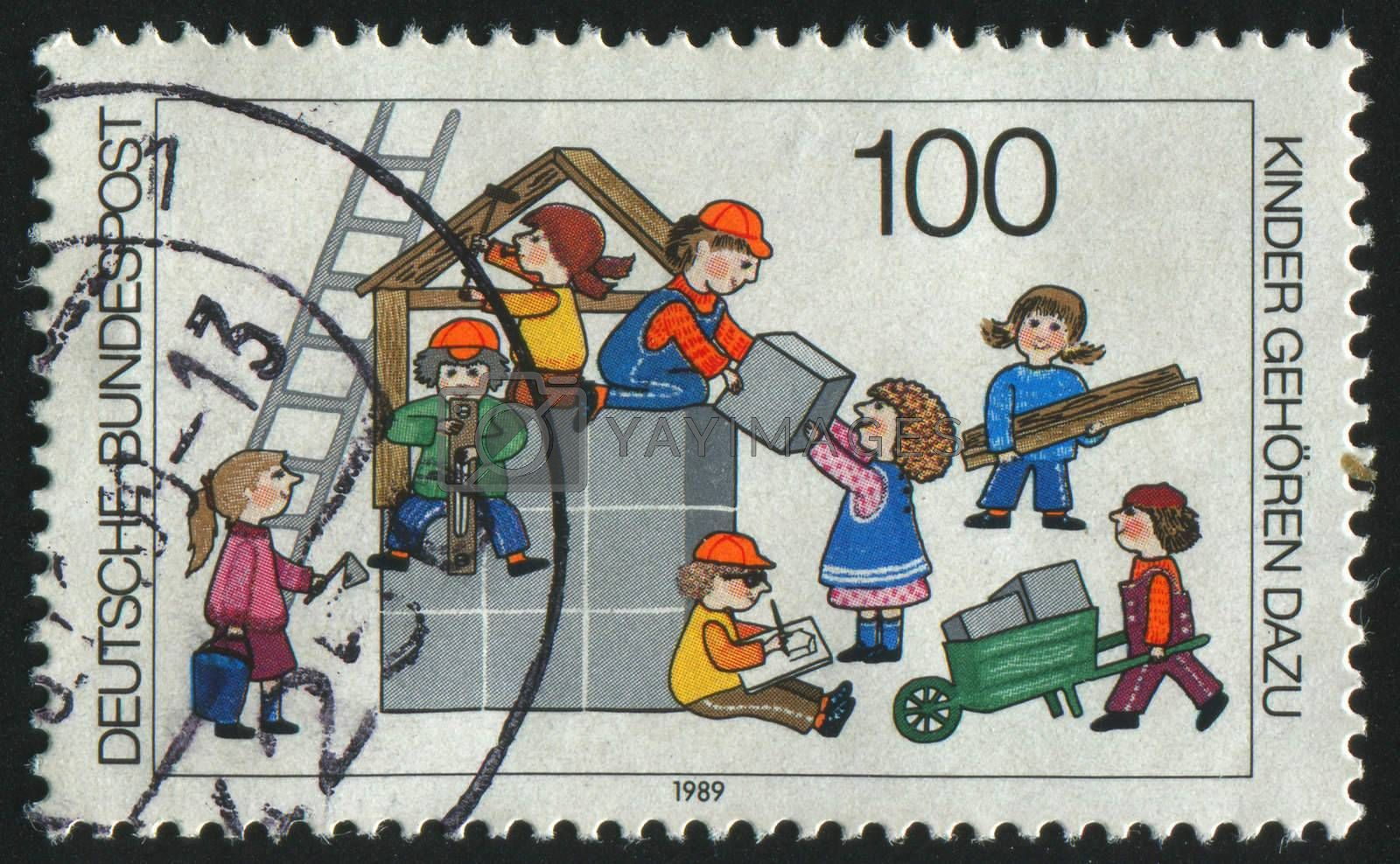 GERMANY  - CIRCA 1989: stamp printed by Germany, shows children, circa 1989.