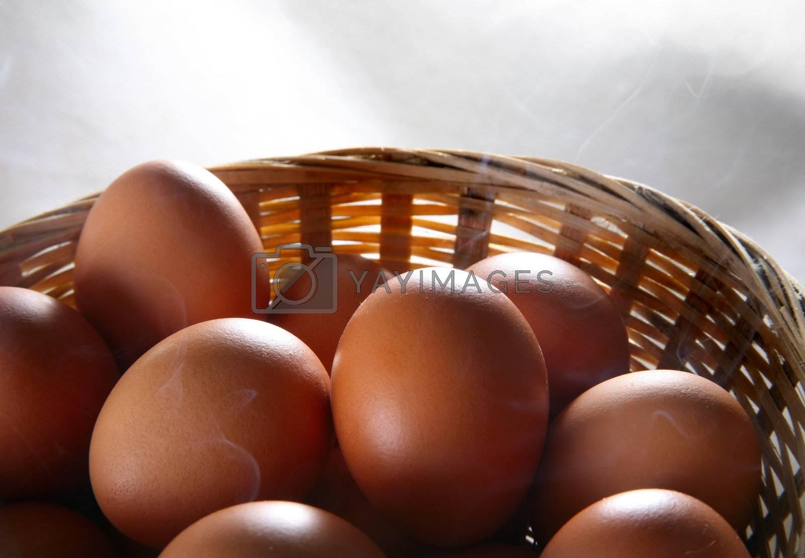 Eggs in a basket in smokie