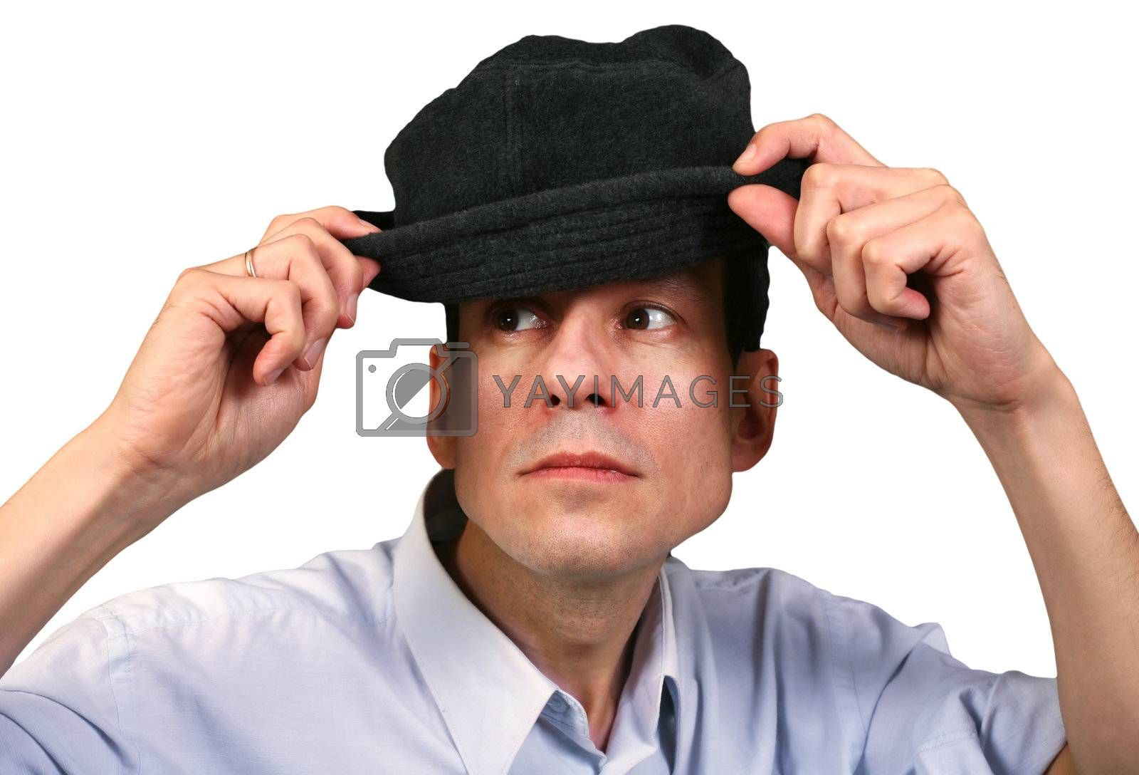 Portrait of the person in a hat isolated in white