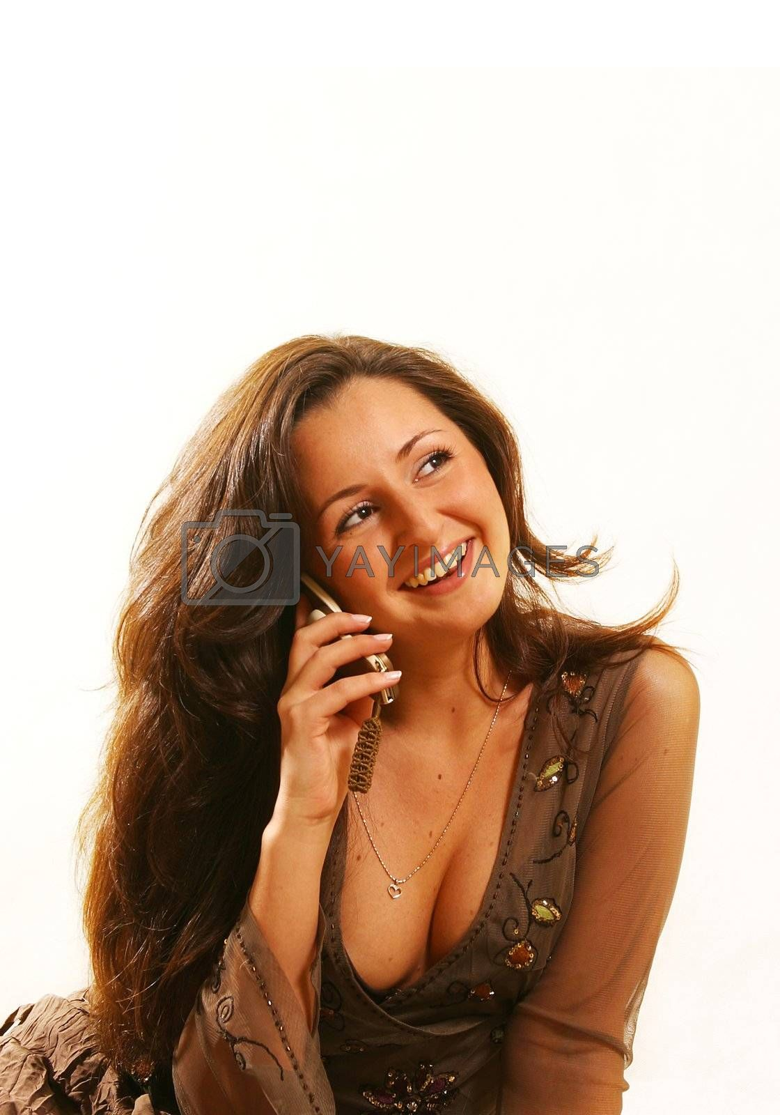 The image of the beautiful woman with the phone
