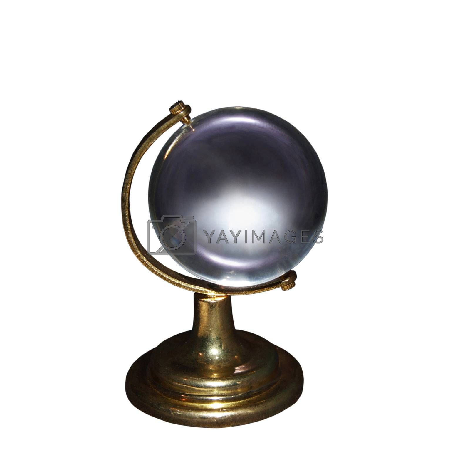 cutout of a clear crystal globe