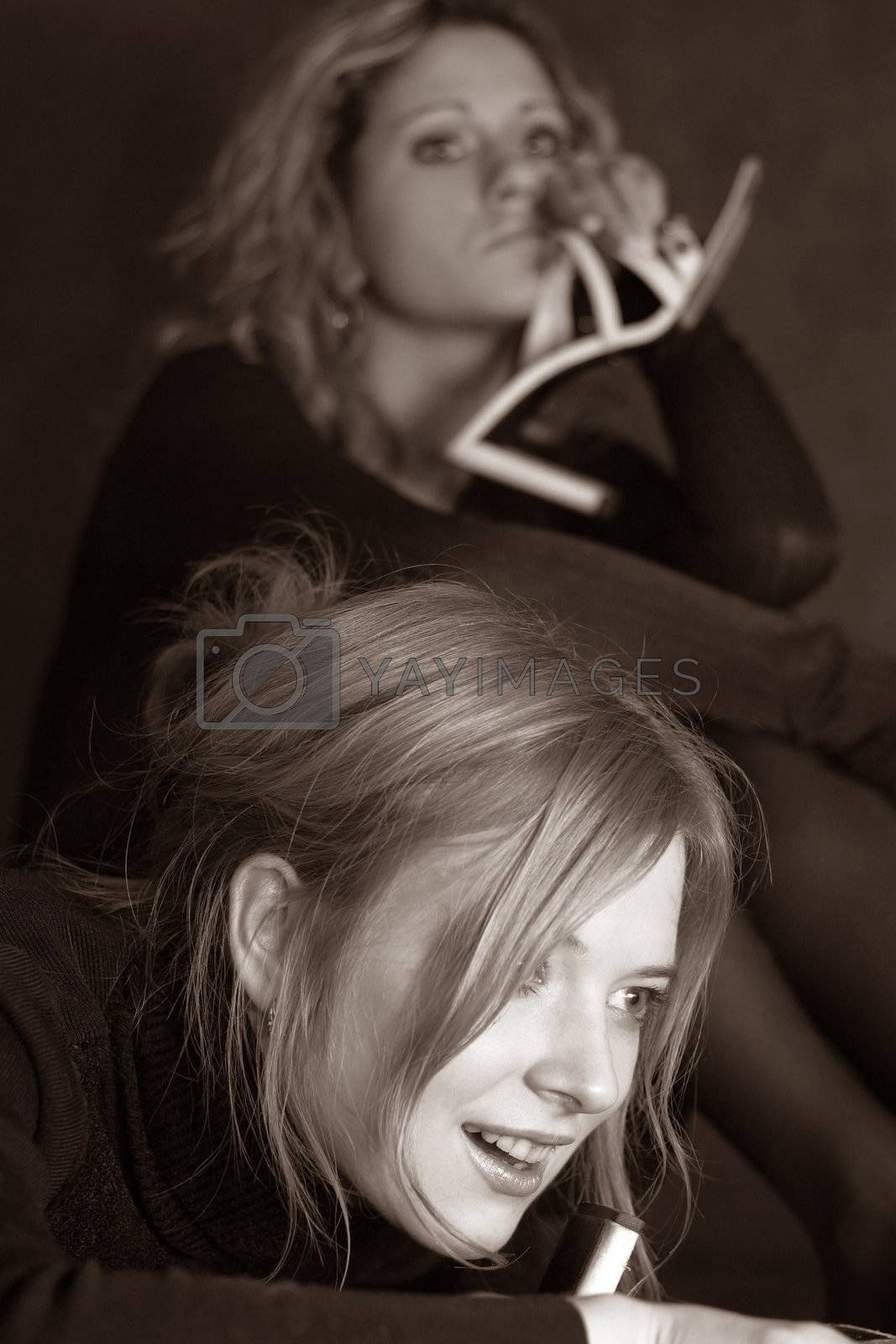 Two girls in studio by friday