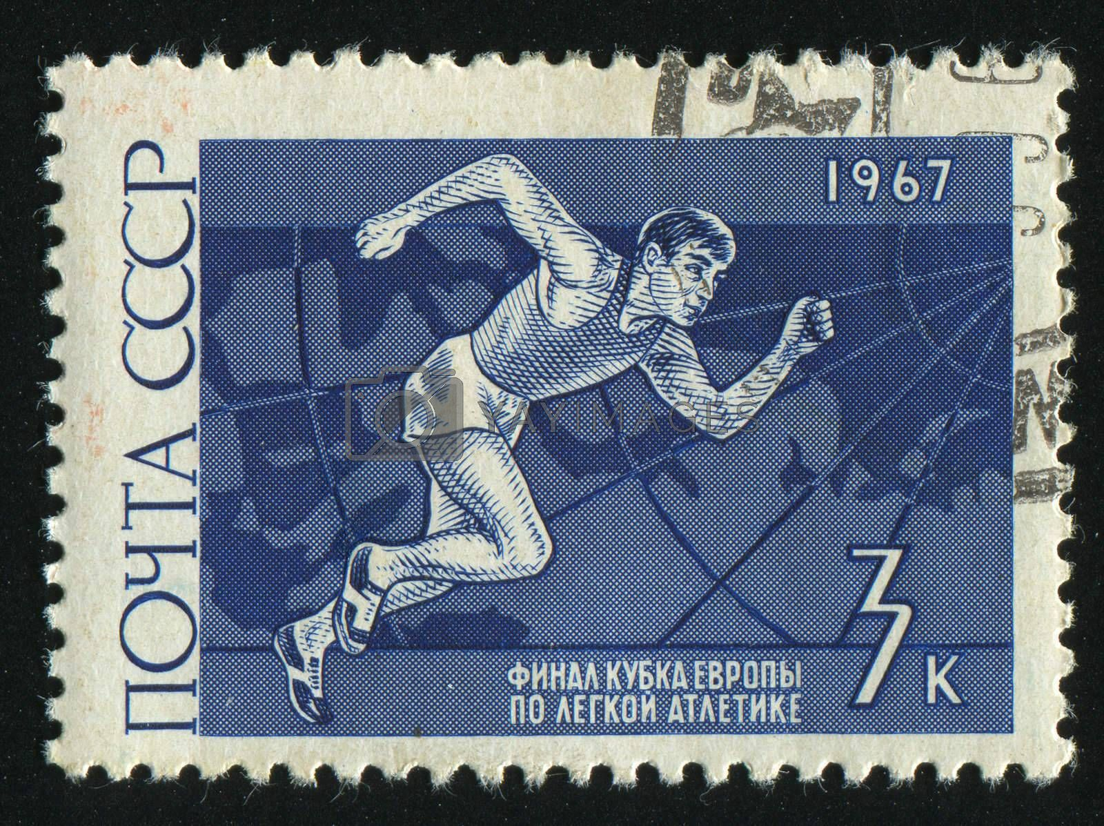 RUSSIA - CIRCA 1967: stamp printed by Russia, shows running athlete, circa 1967.