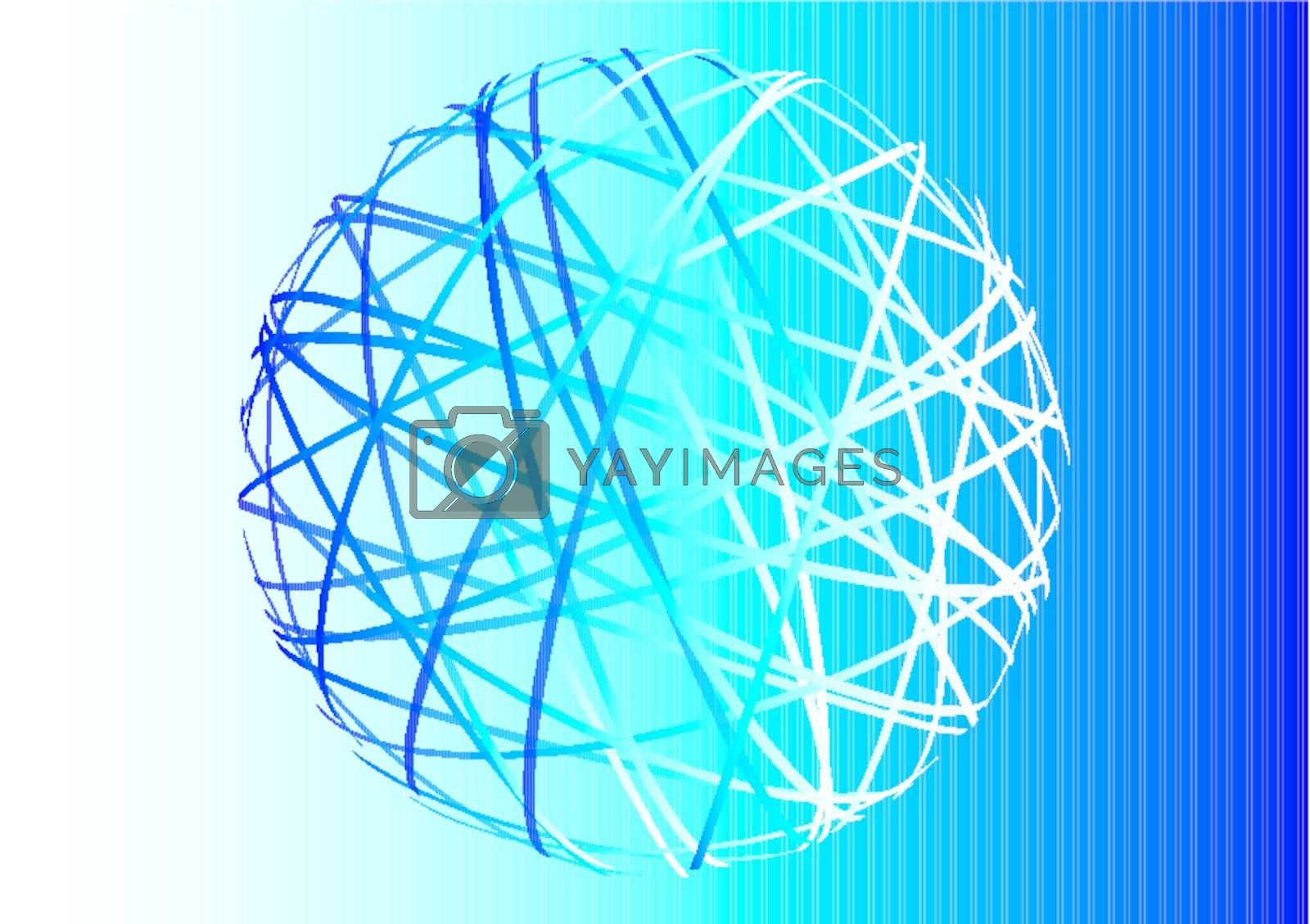 abstract sphere on blue gradient background