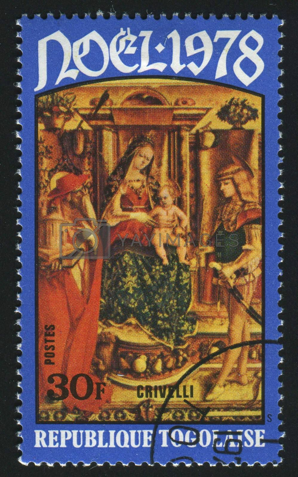 TOGOLESE REPUBLIC -CIRCA 1978: stamp printed by Togo, shows picture, Virgin and Child by Cario Crivelli,  circa 1978.