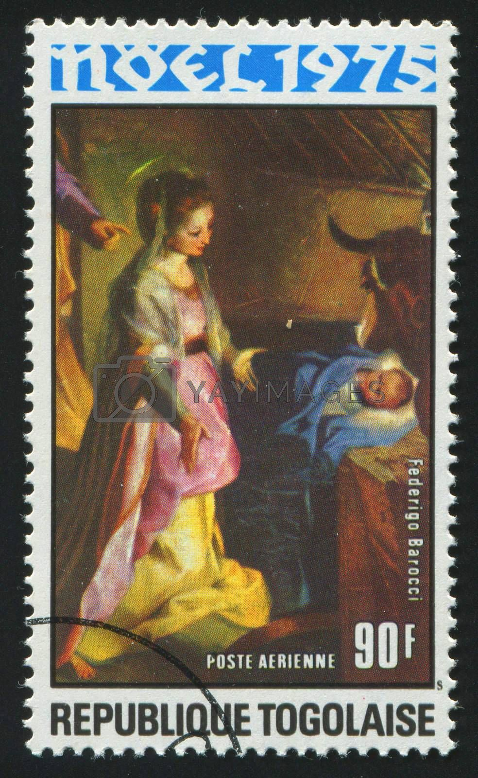 TOGOLESE REPUBLIC -CIRCA 1975: stamp printed by Togo, shows picture, Virgin and Child,  circa 1975.
