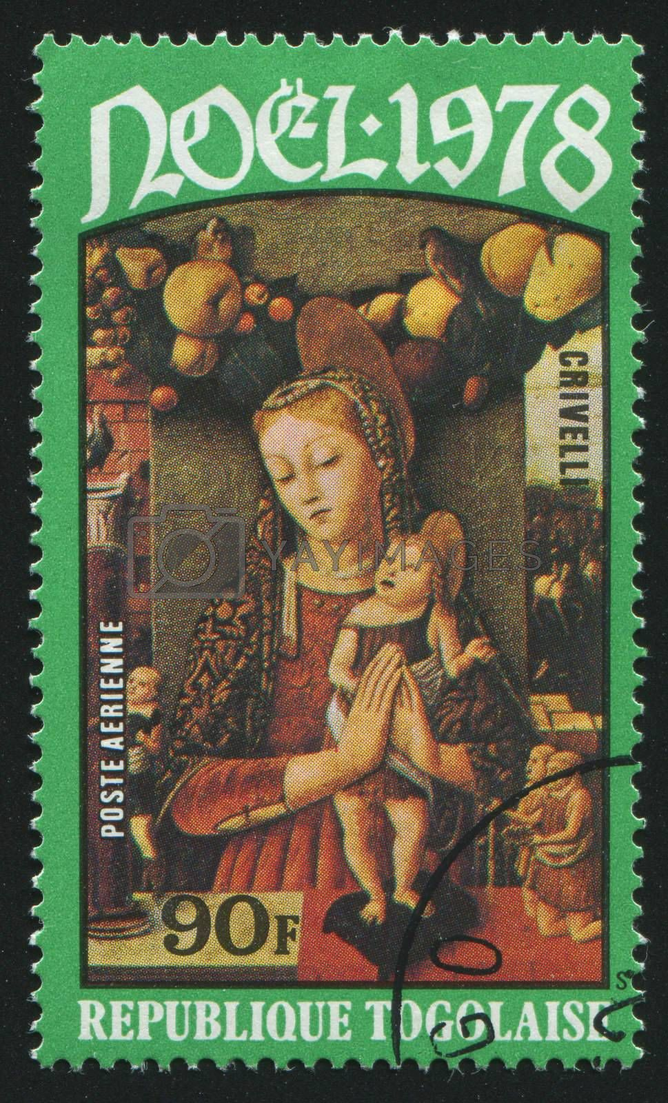 TOGOLESE REPUBLIC -CIRCA 1978: stamp printed by Togo, shows picture, Virgin and Child,  circa 1978.