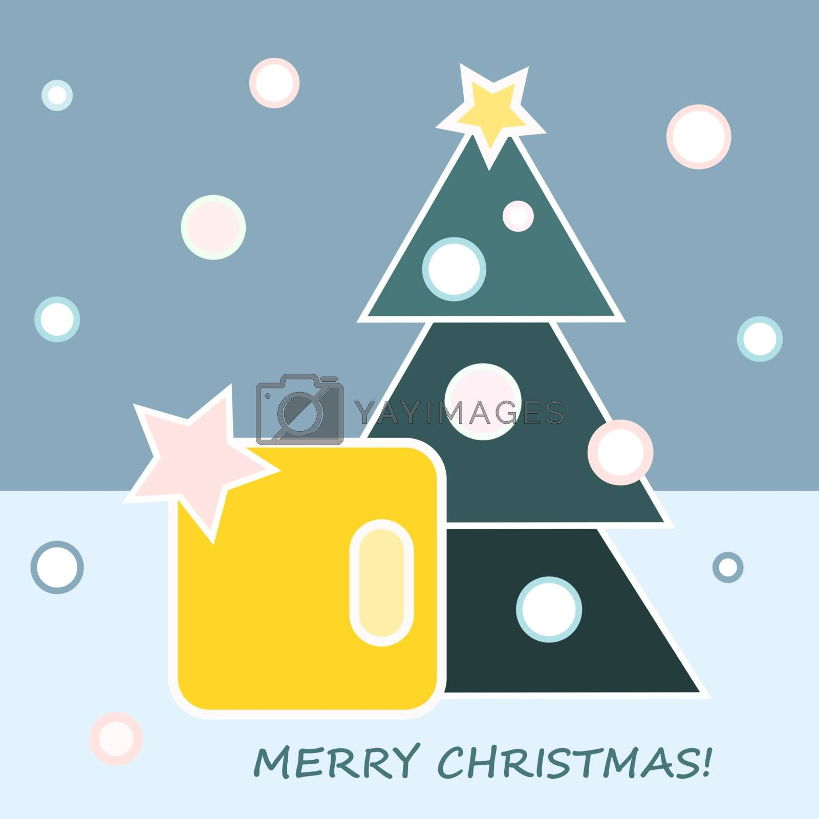 Christmas gift and Christmas tree on blue background