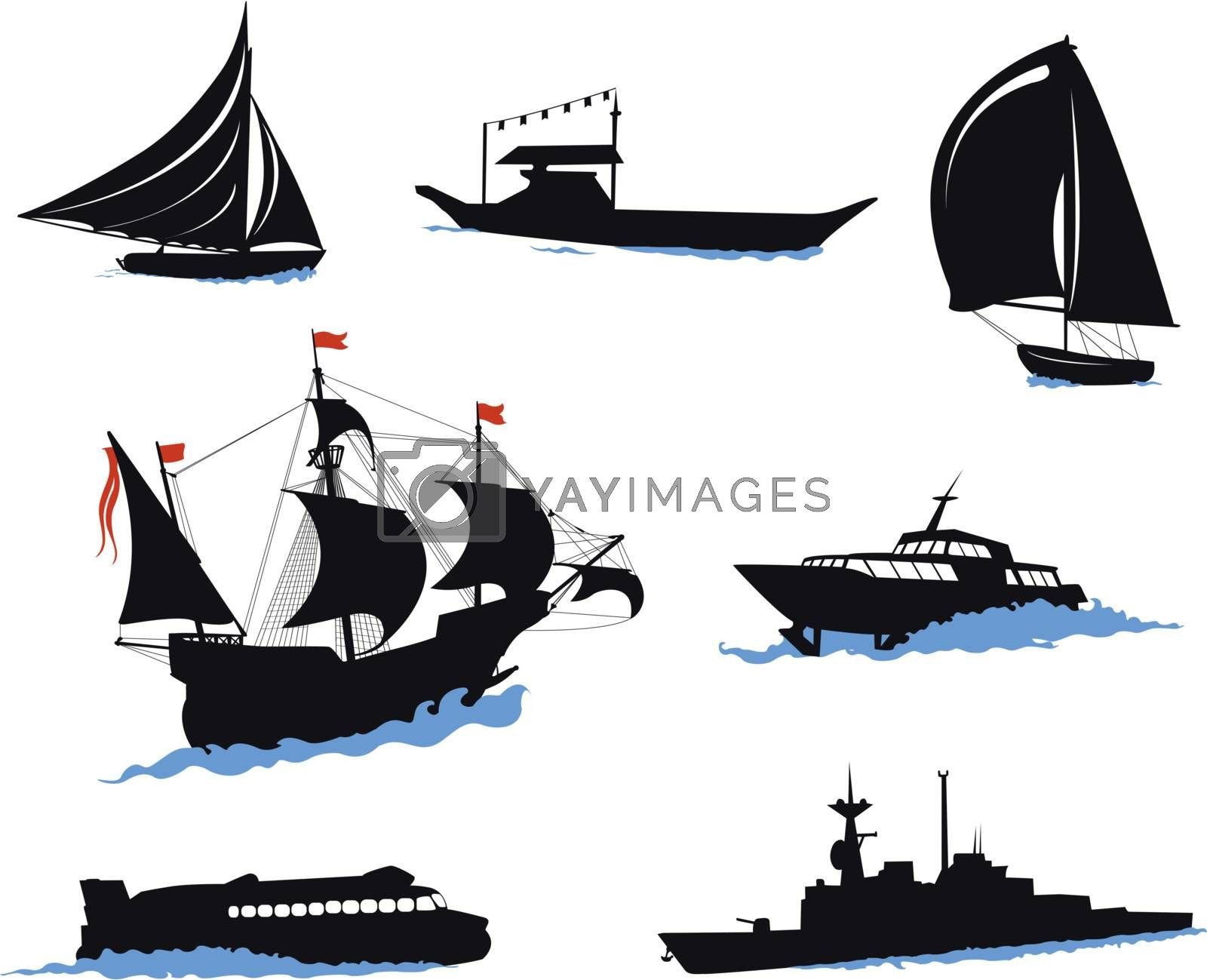 Silhouettes of offshore ships - yacht, fishing boat, the warship.