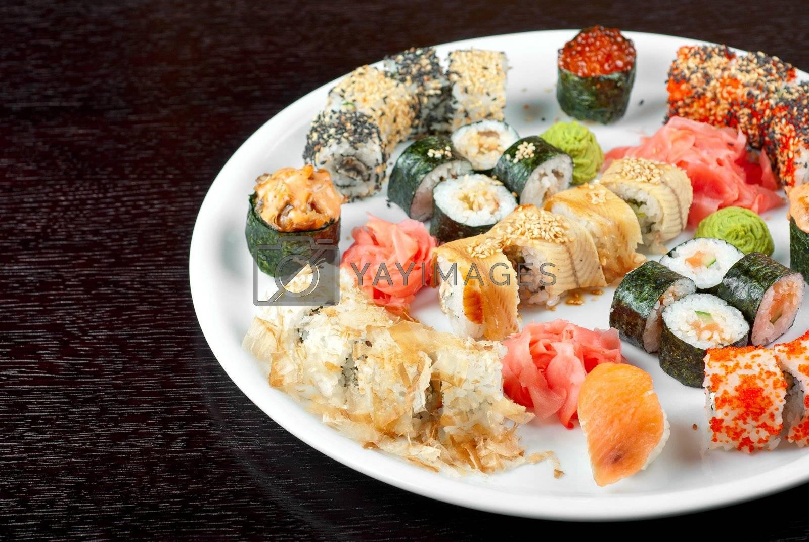 view of closeup japanese sushi set at plate
