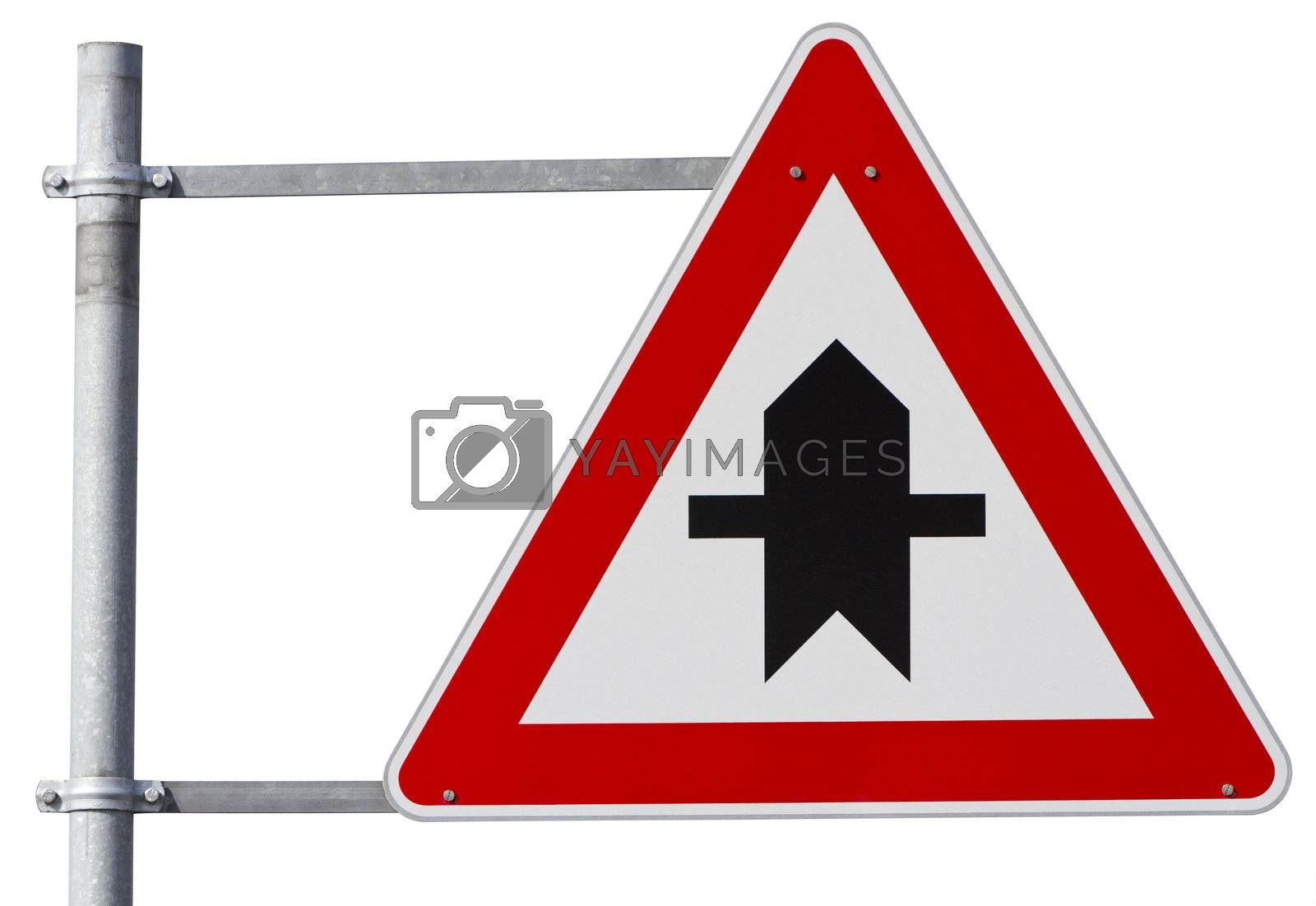 german right of way sign isolated on white with clipping path